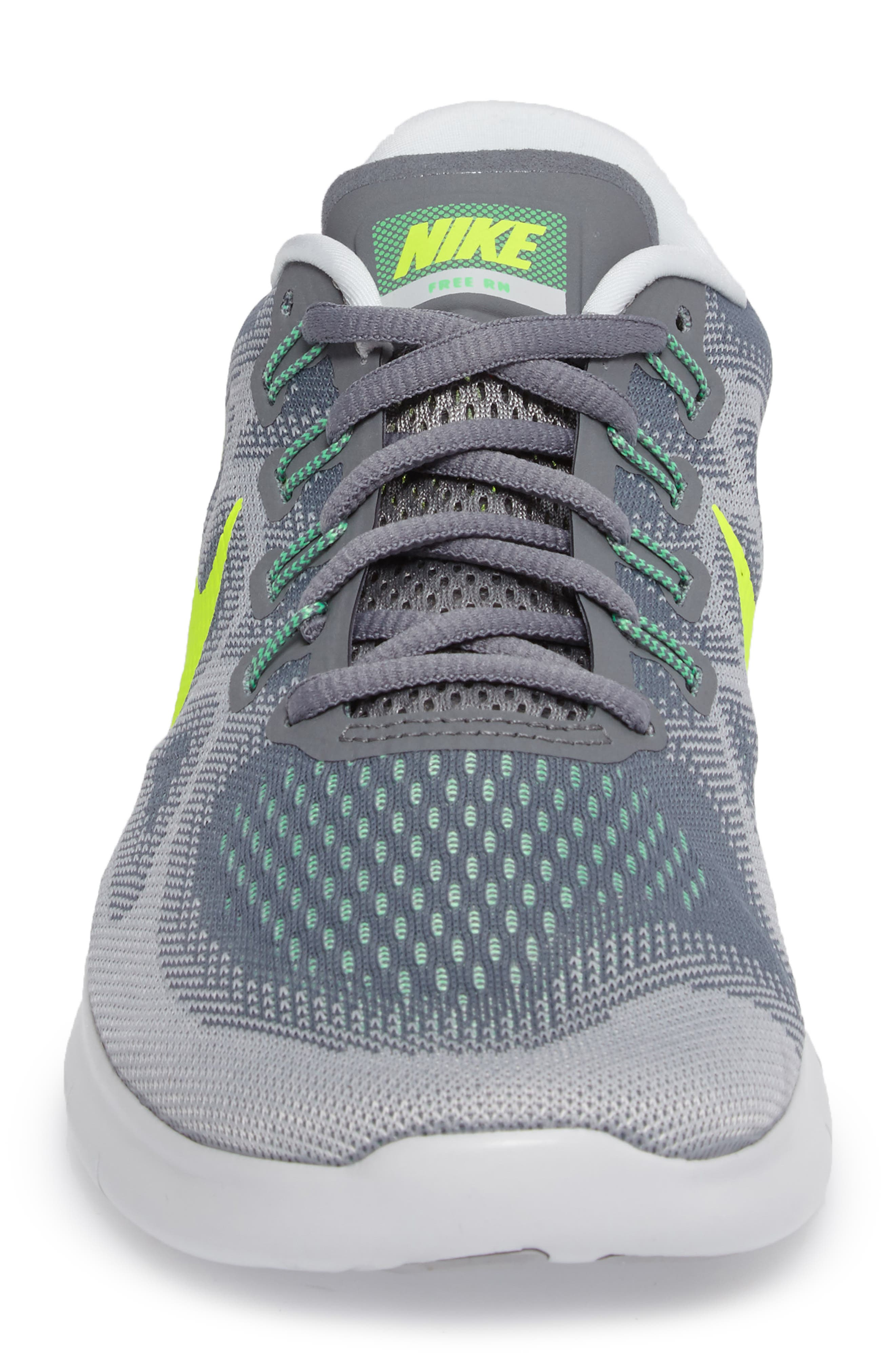 Free Run 2017 Running Shoe,                             Alternate thumbnail 4, color,                             Grey/ Volt/ Grey/ Green