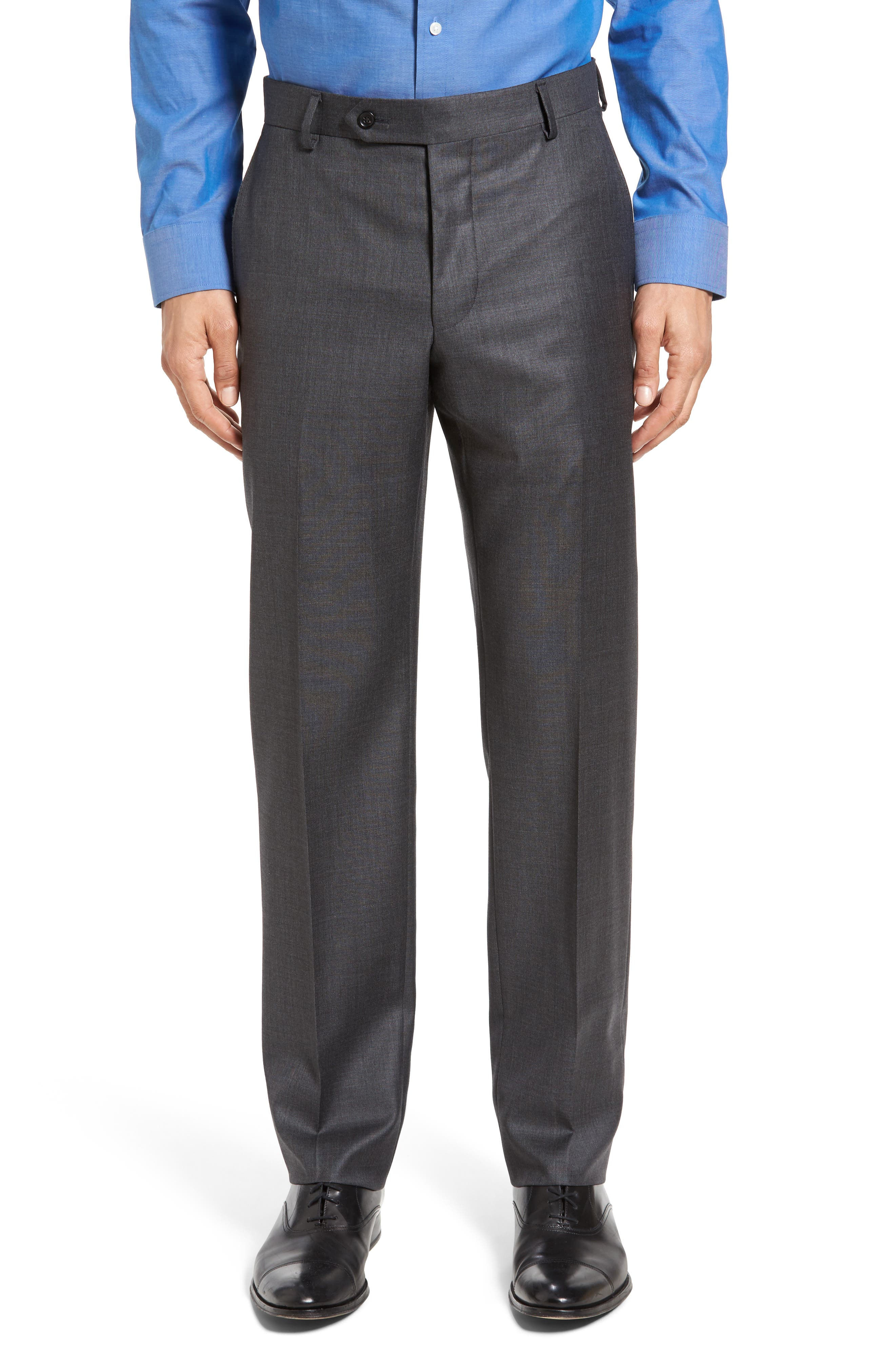Beckett Classic Fit Sharkskin Wool Suit,                             Alternate thumbnail 6, color,                             Charcoal