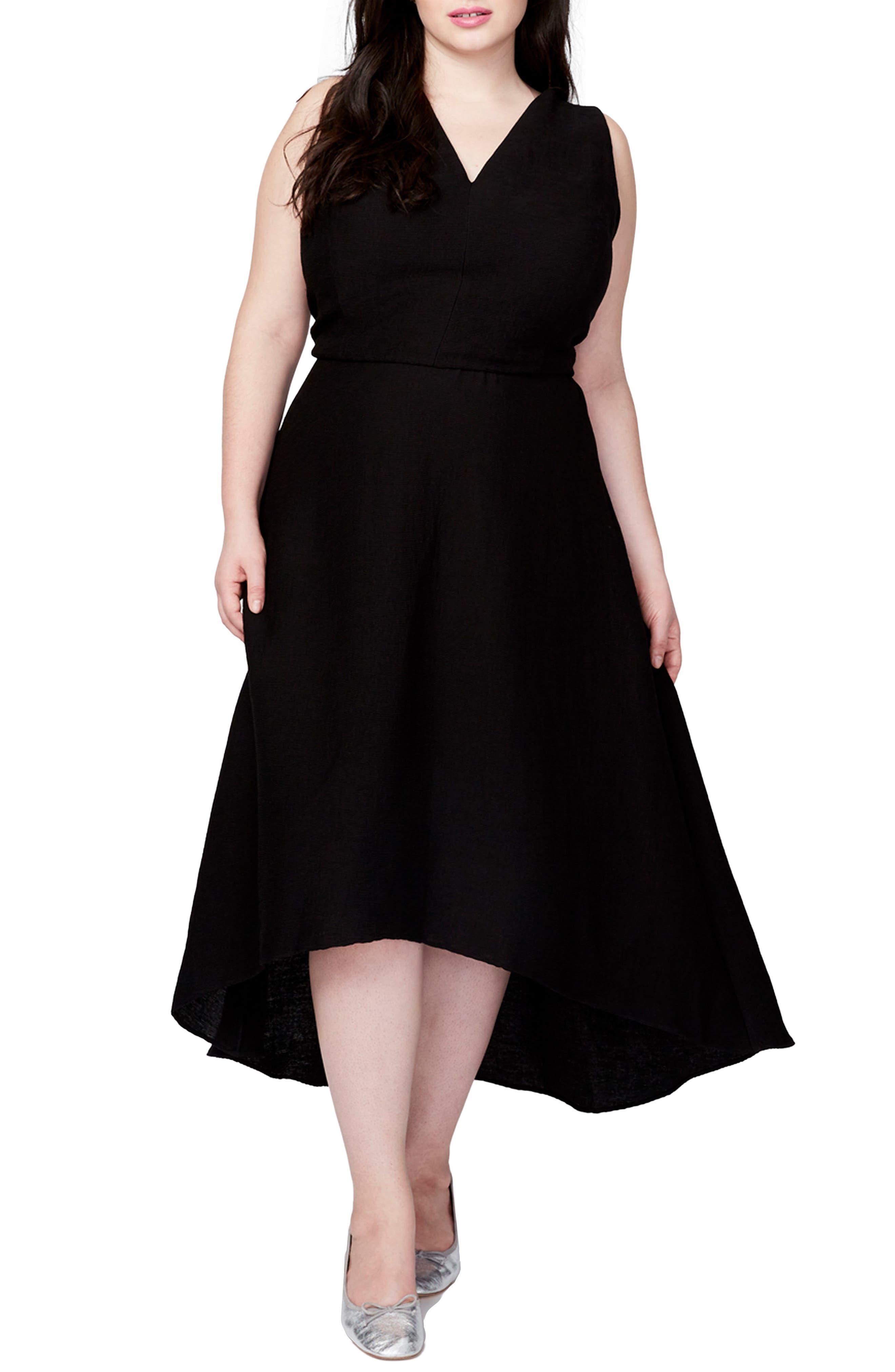 Main Image - RACHEL Rachel Roy Flutter Drape Dress (Plus Size)
