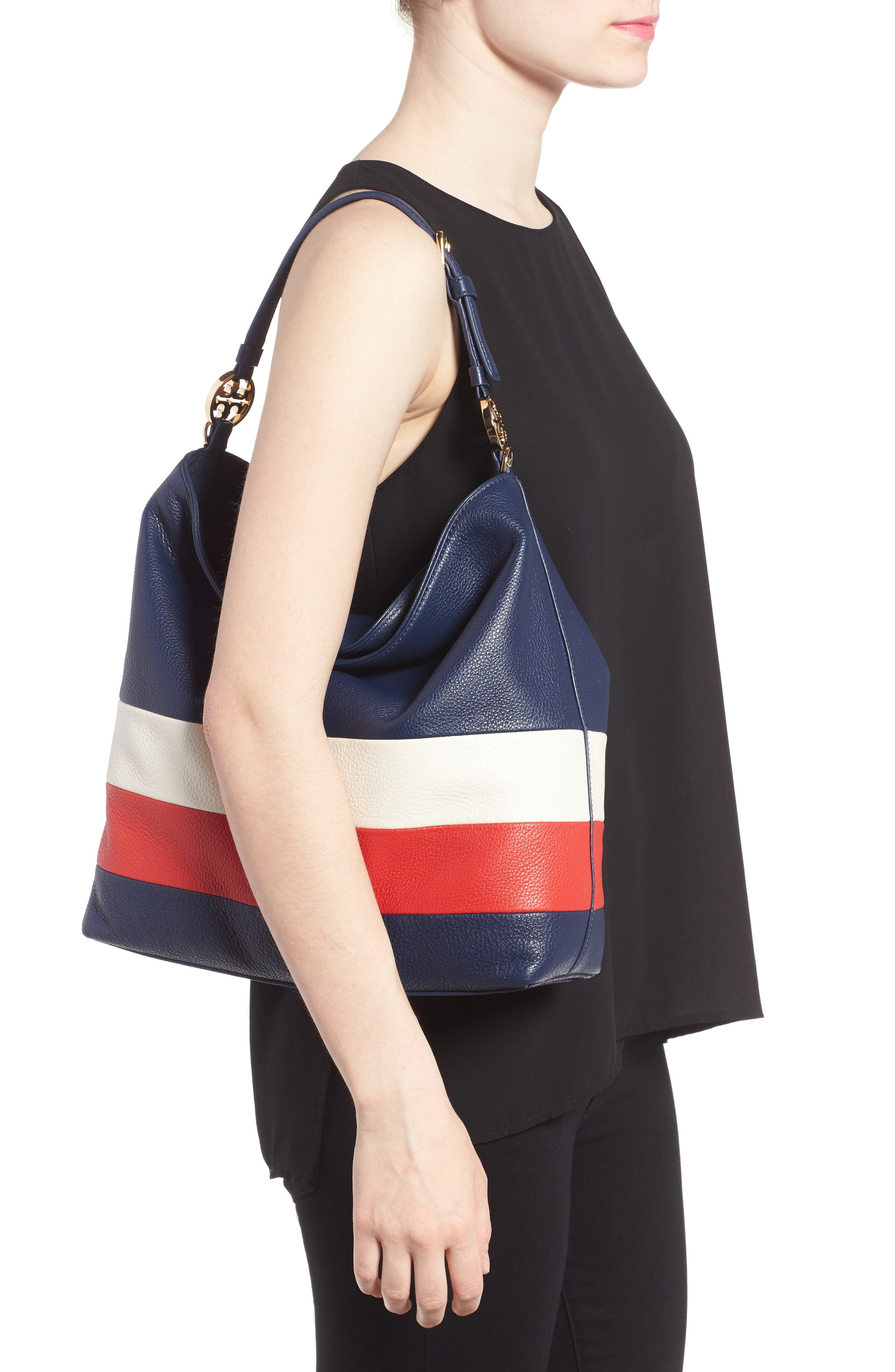 Alternate Image 2  - Tory Burch Stripe Duet Leather Hobo