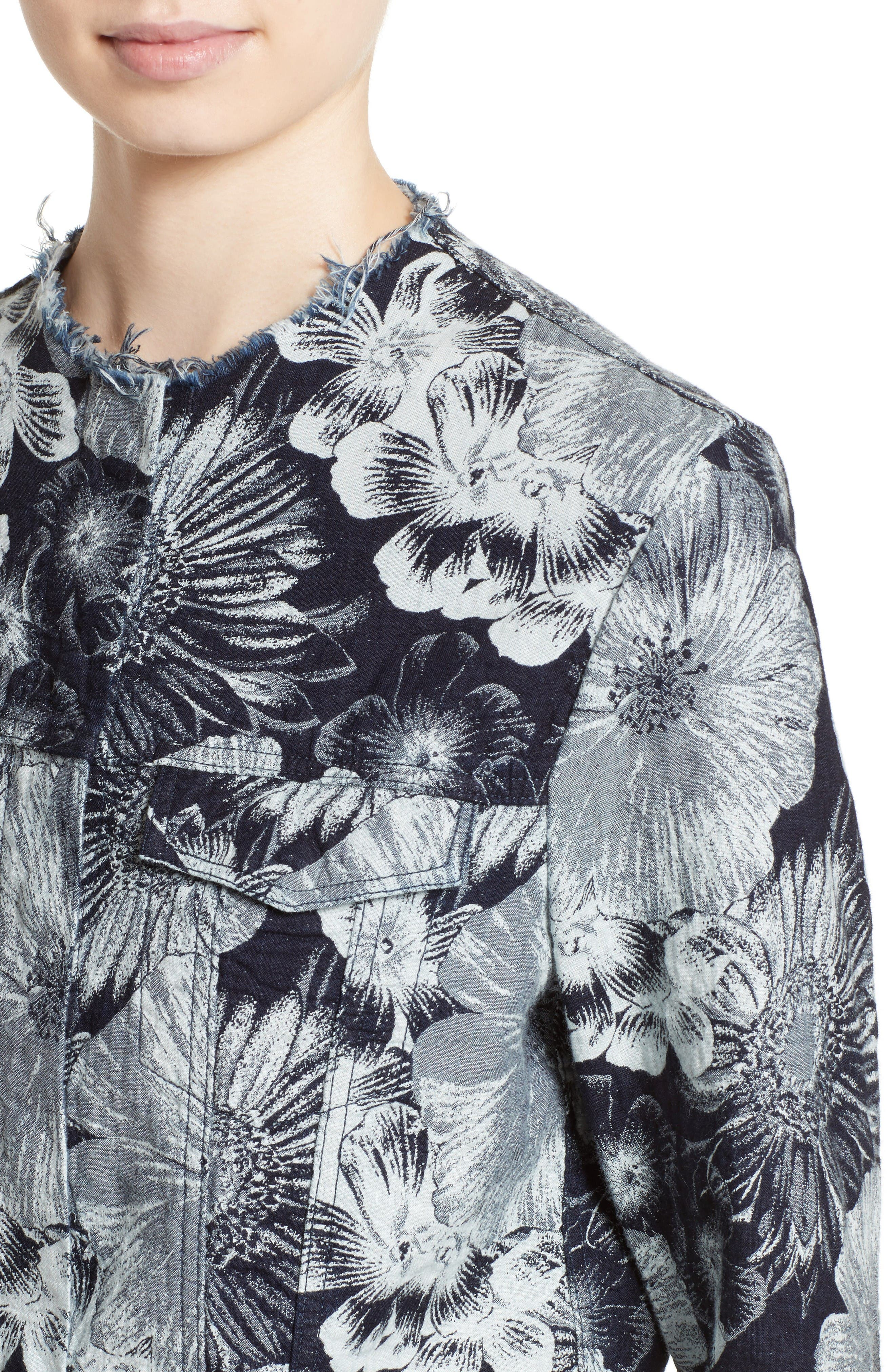 Alternate Image 6  - Marques'Almeida Floral Print Classic Fitted Denim Jacket (Nordstrom Exclusive)