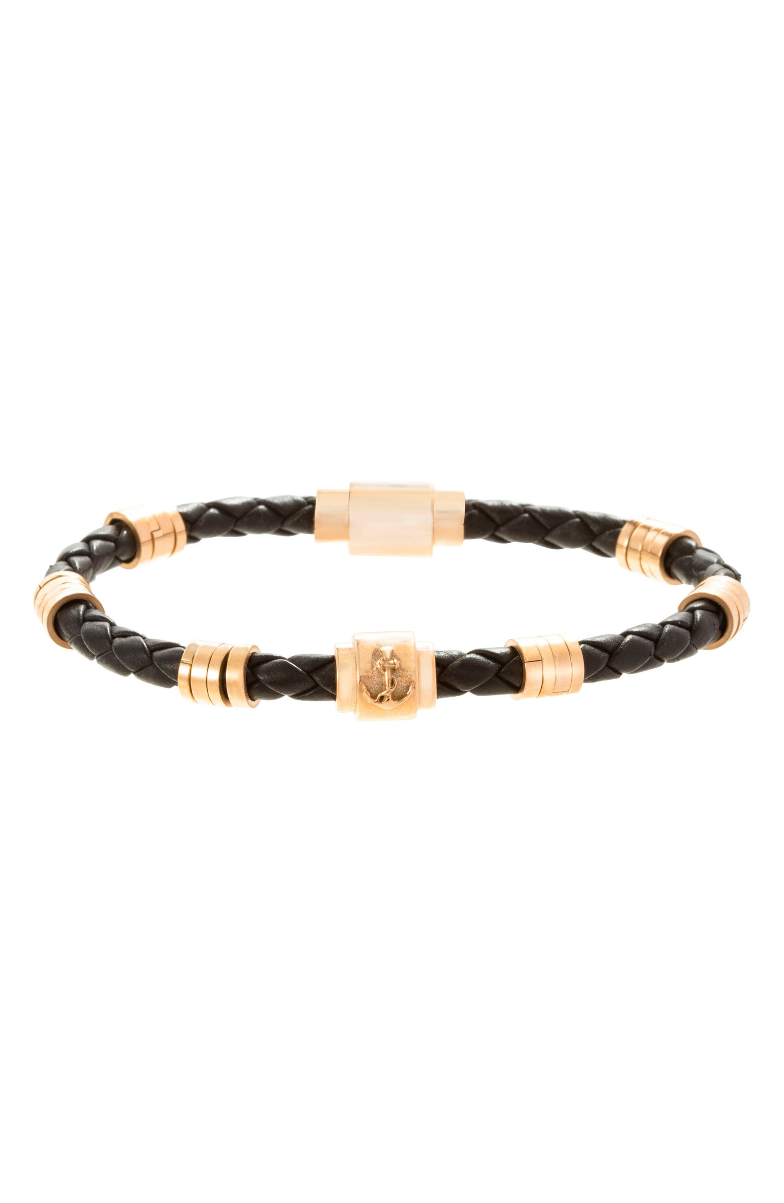 Bead Bracelet,                         Main,                         color, Black/ Gold