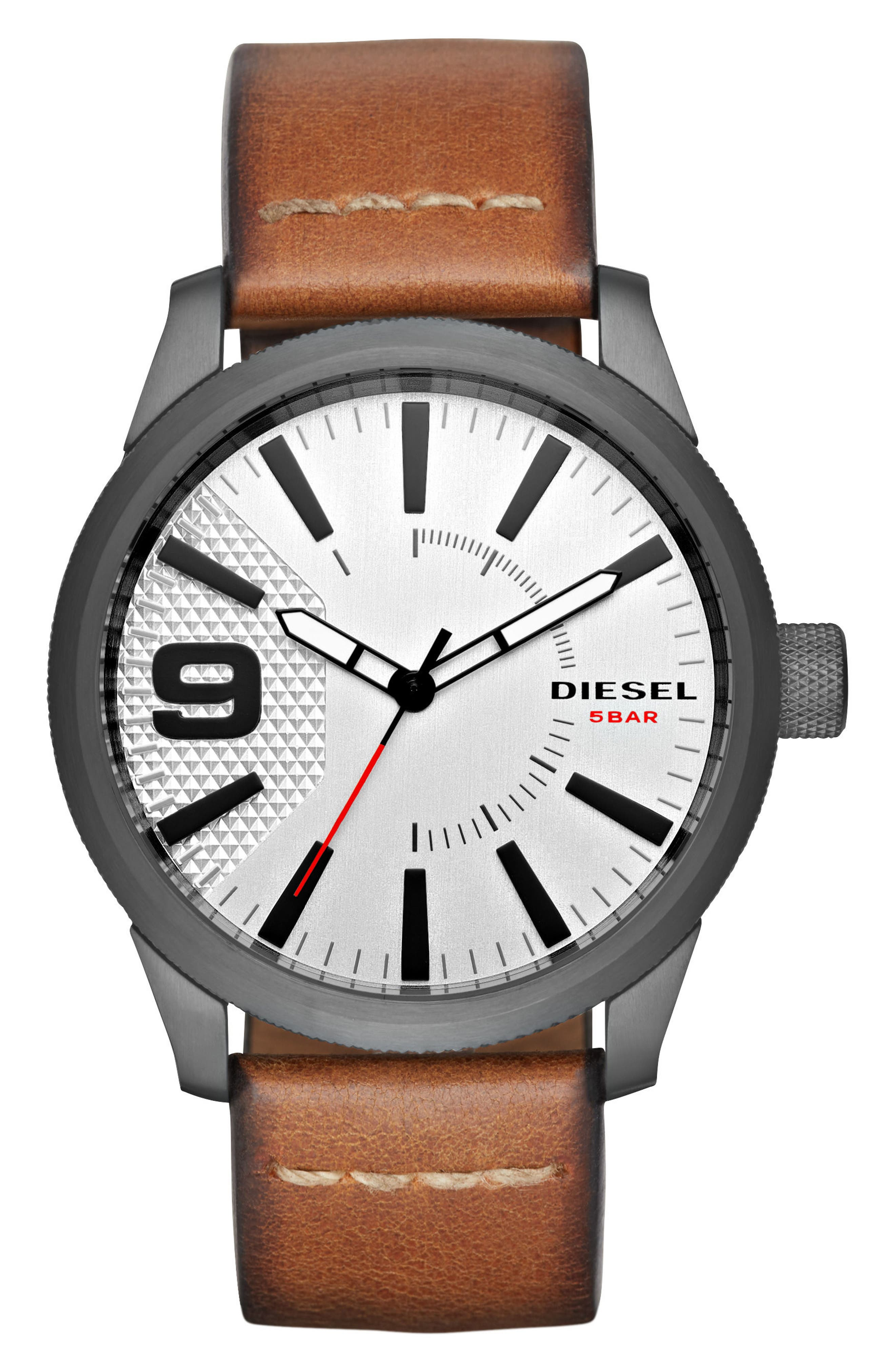 Alternate Image 1 Selected - DIESEL® Rasp Leather Strap Watch, 46mm