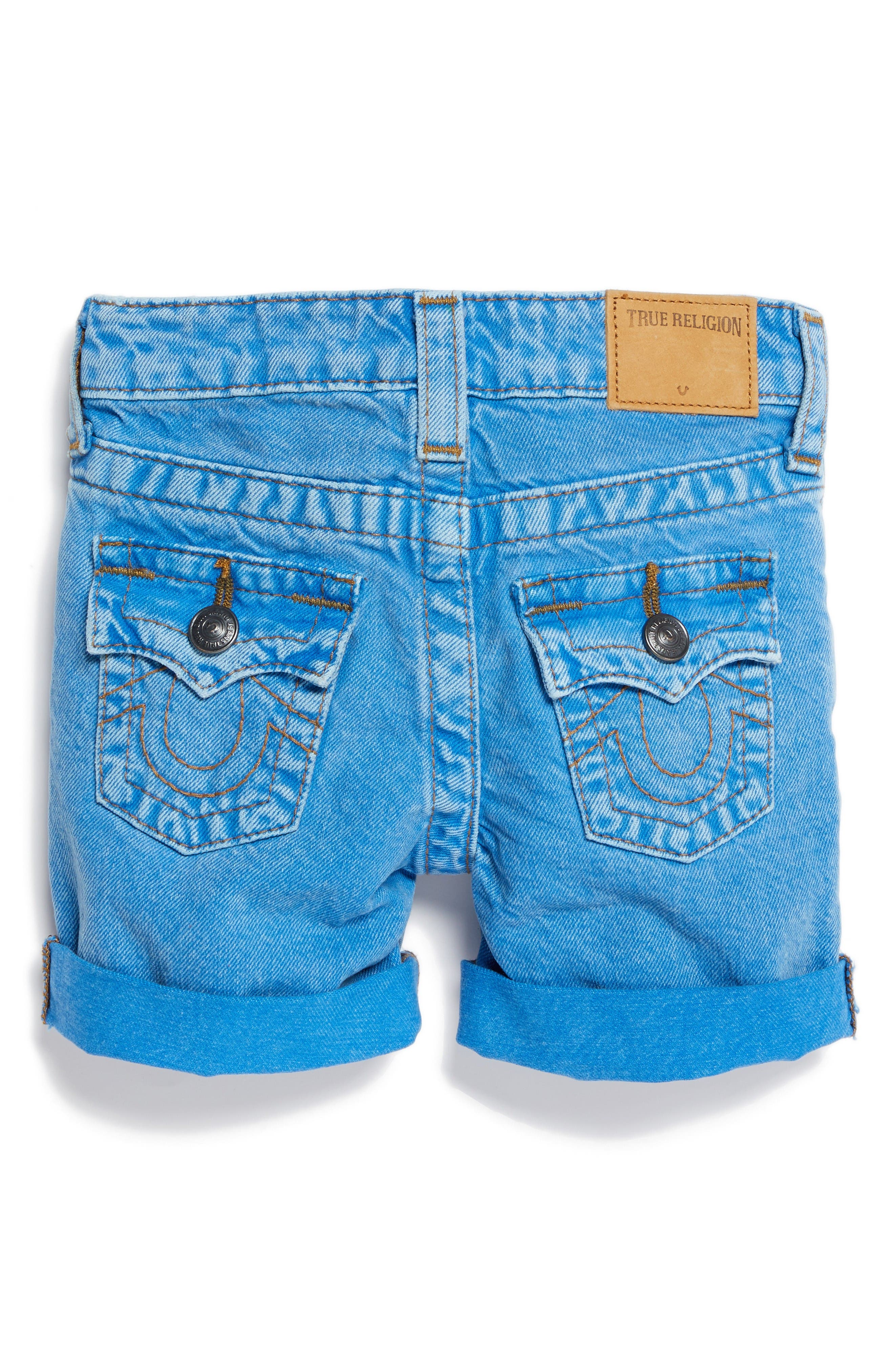 True Religion Geno Denim Shorts,                             Alternate thumbnail 2, color,                             Bright Blue