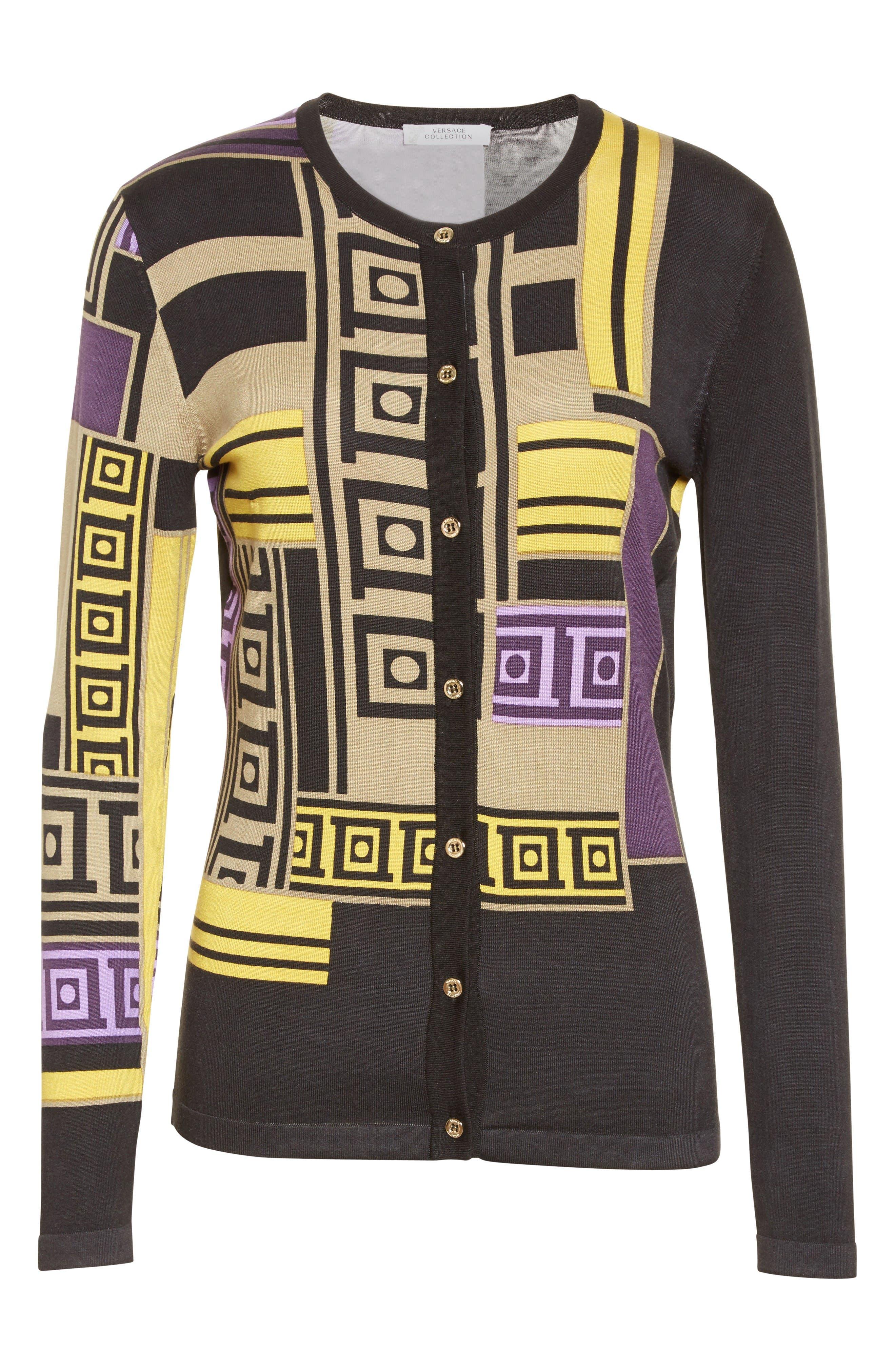 Alternate Image 4  - Versace Collection Tetris Silk Blend Cardigan