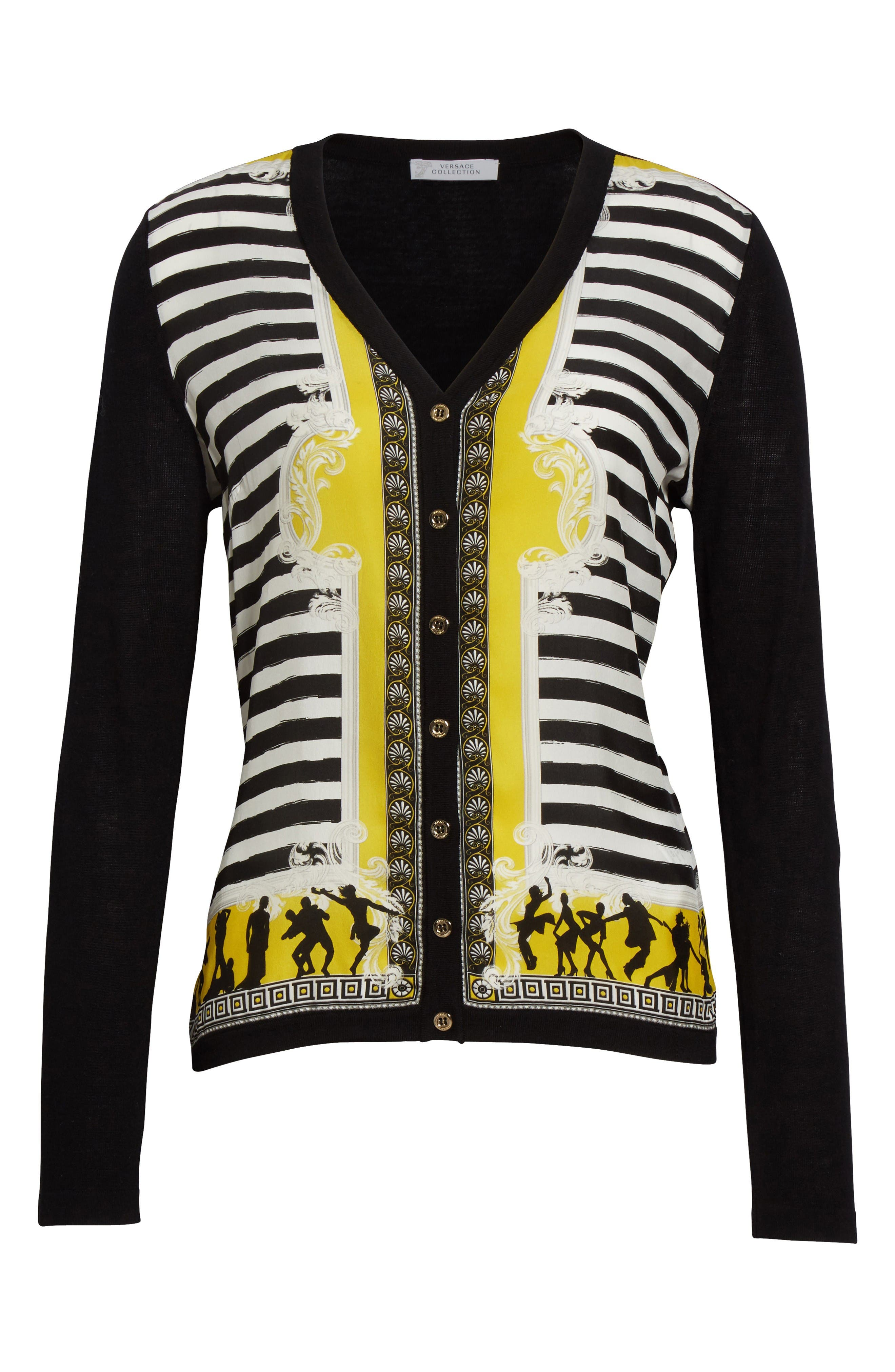Alternate Image 4  - Versace Collection Catwalk Print Silk & Wool Cardigan