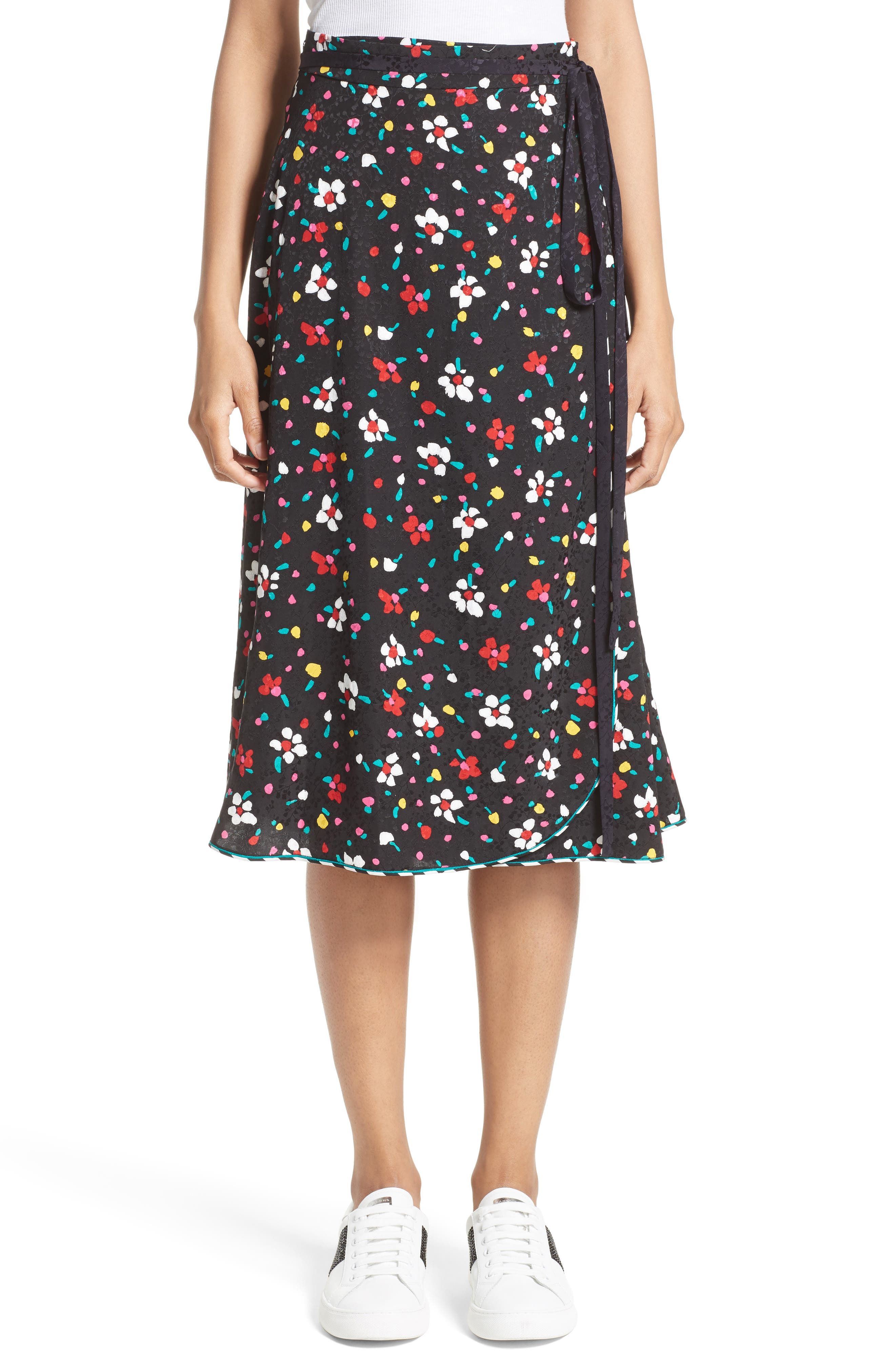 Floral Silk Jacquard Wrap Skirt,                         Main,                         color, Black Multi