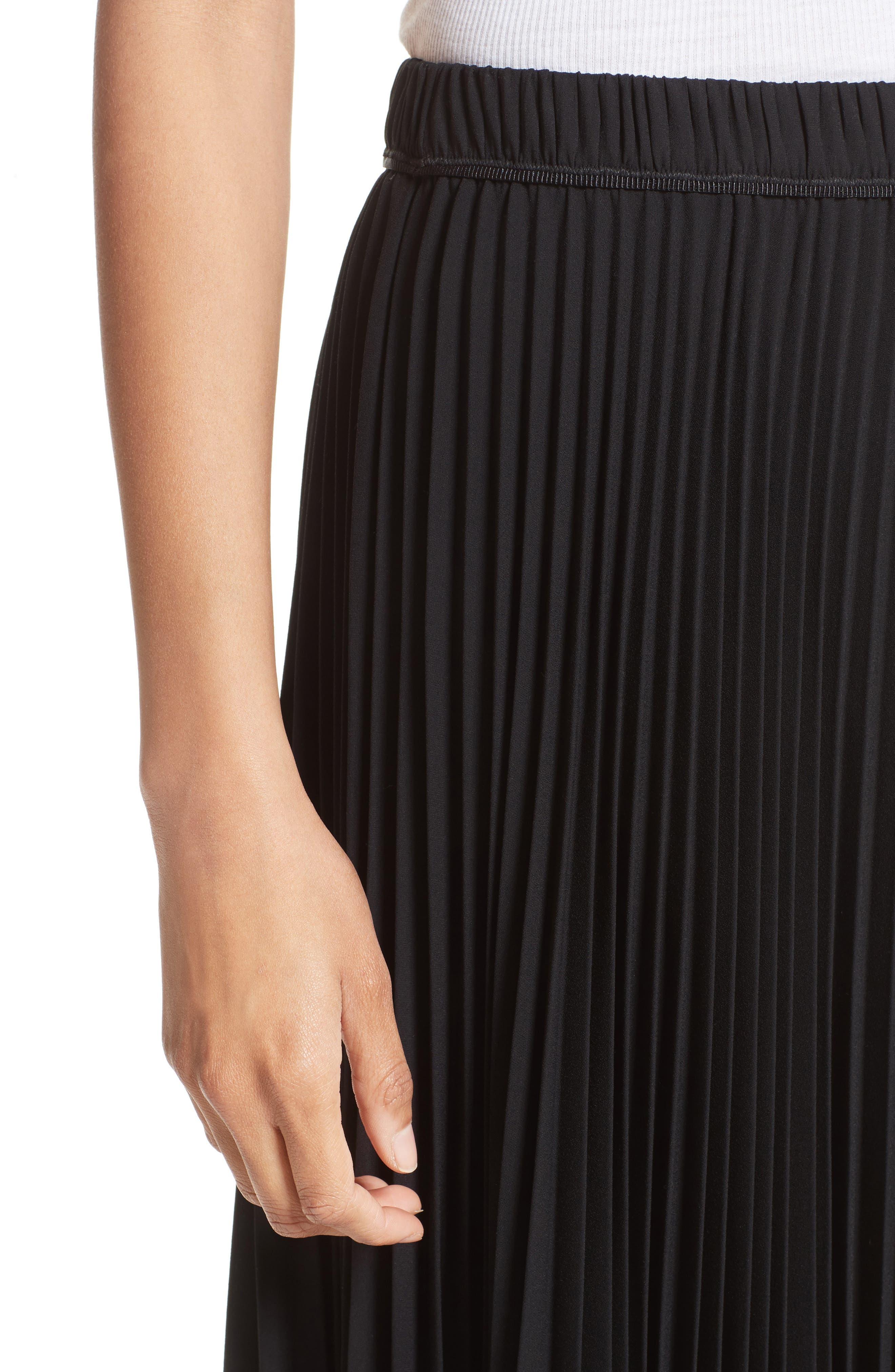 Pleated Crêpe de Chine Midi Skirt,                             Alternate thumbnail 9, color,                             Black
