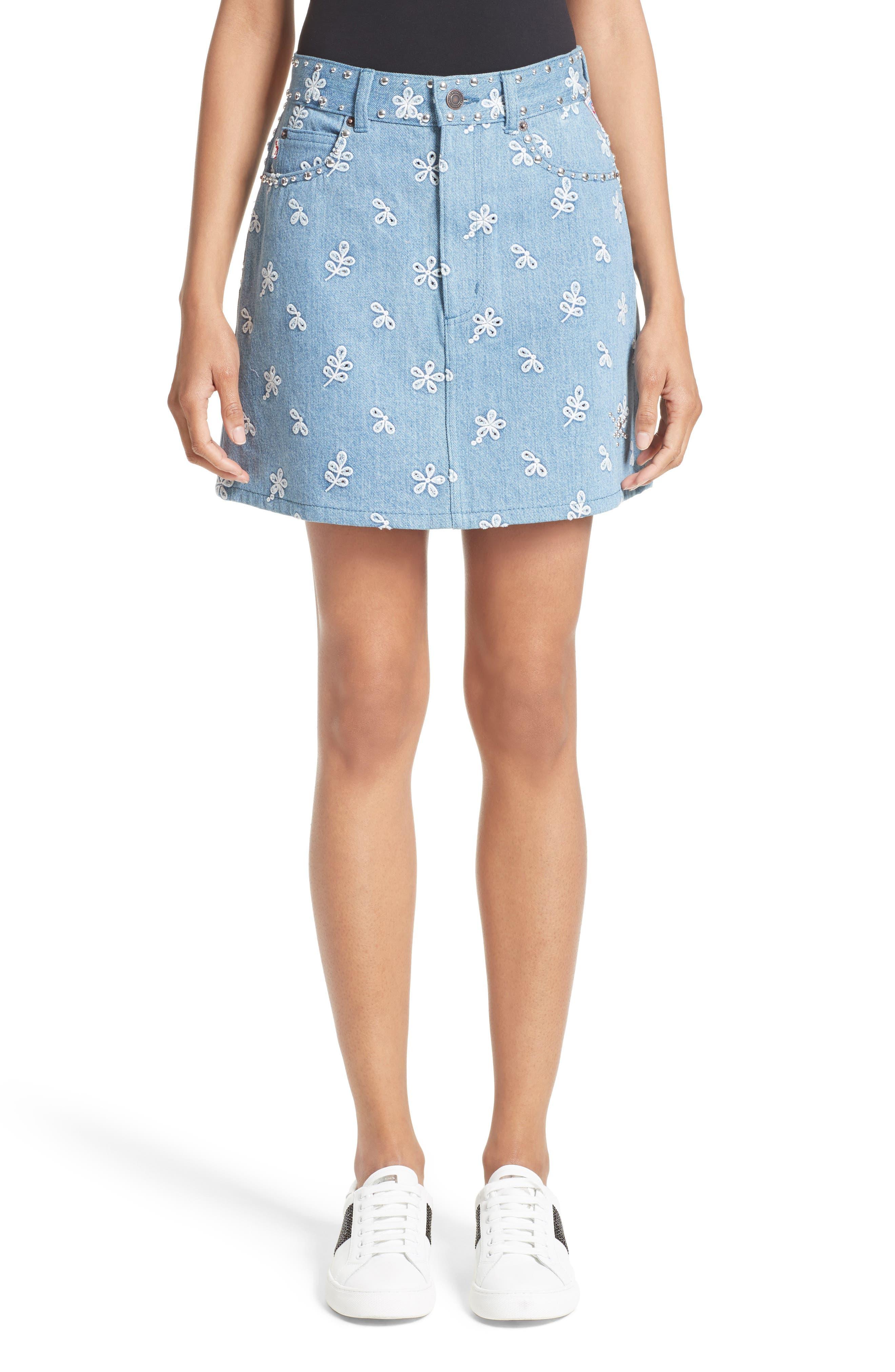 Broderie Anglaise Denim Miniskirt,                         Main,                         color, Indigo Broderie Anglaise
