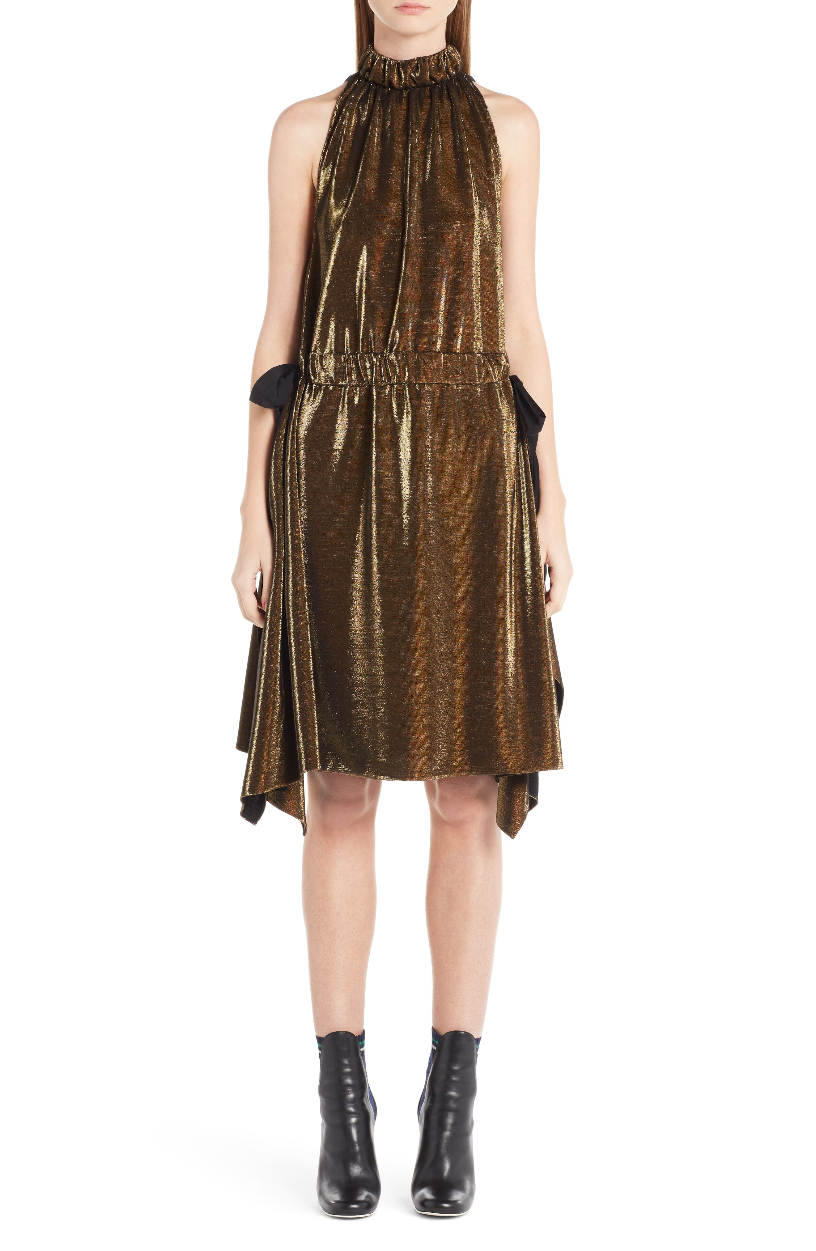 Metallic Jersey Halter Dress,                         Main,                         color, Gold