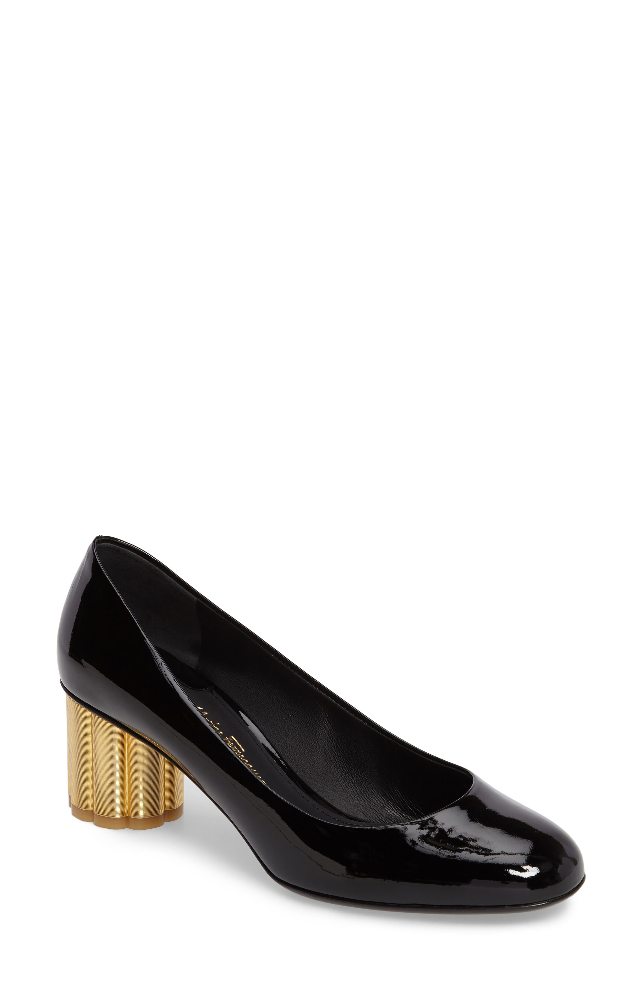 SALVATORE FERRAGAMO Rounded Toe Flower Heel Pump