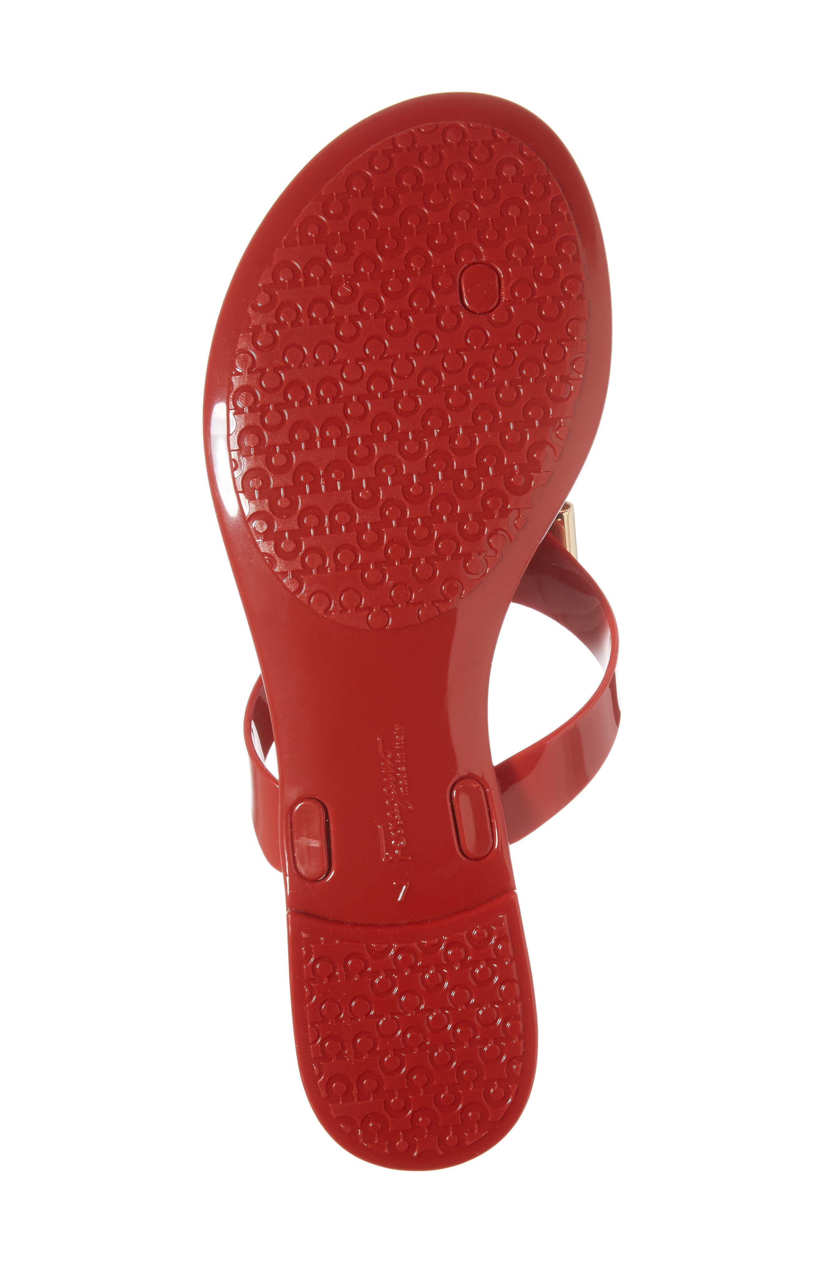 Farelia Jelly Flat Bow Sandal,                             Alternate thumbnail 6, color,                             Red Pvc