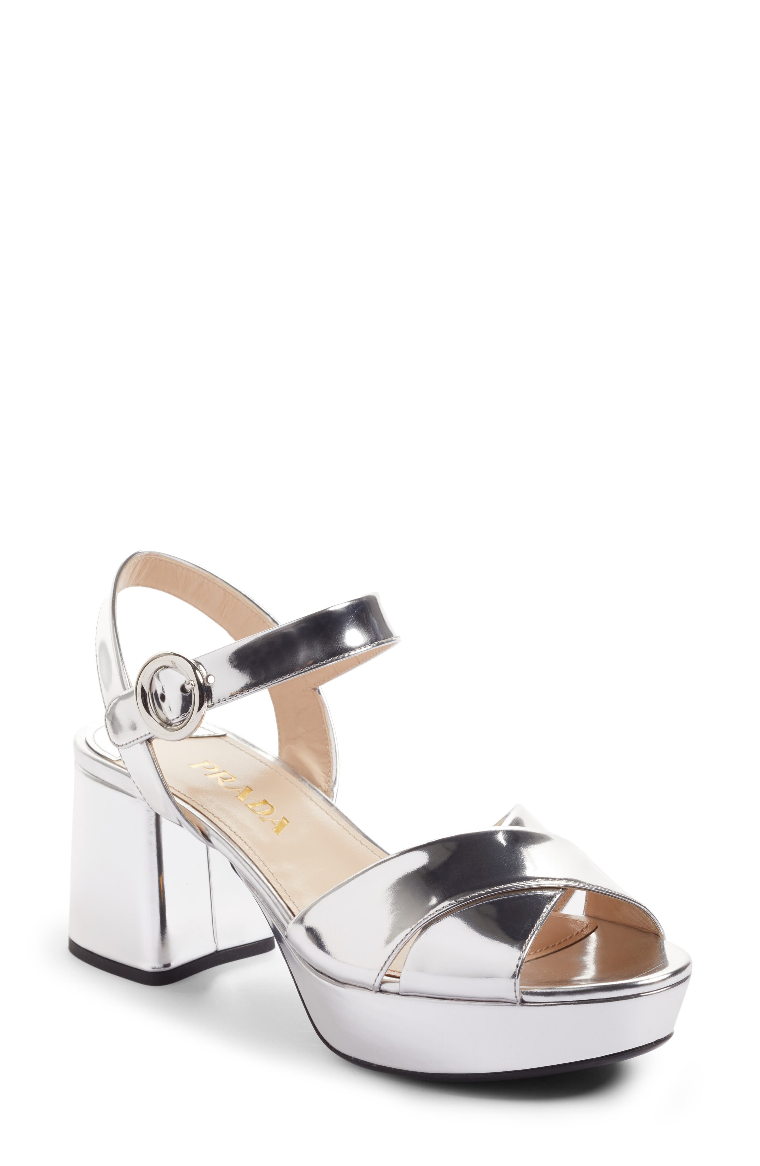 Alternate Image 1 Selected - Prada Strappy Platform Sandal (Women)