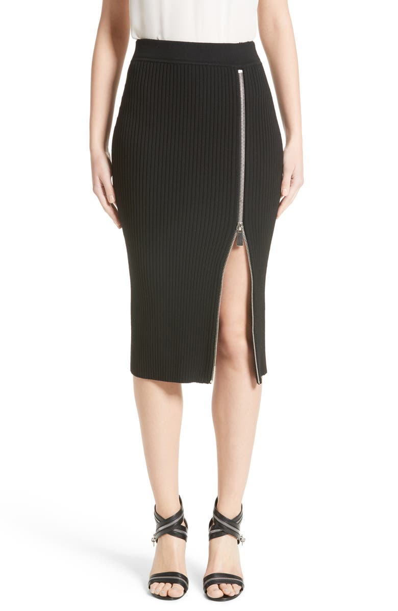 Zip Slit Pencil Skirt