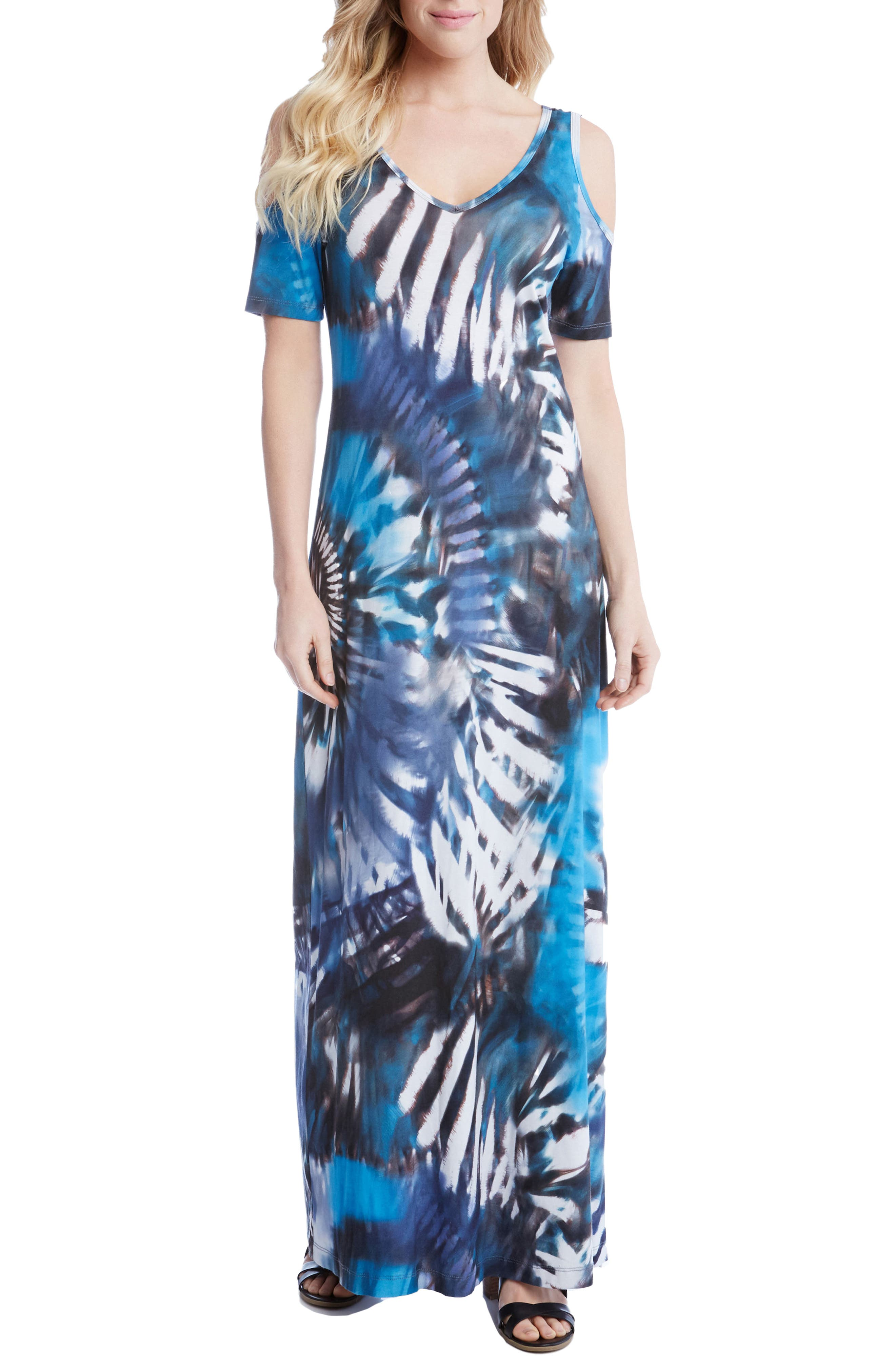 KAREN KANE Print Cold Shoulder Maxi Dress
