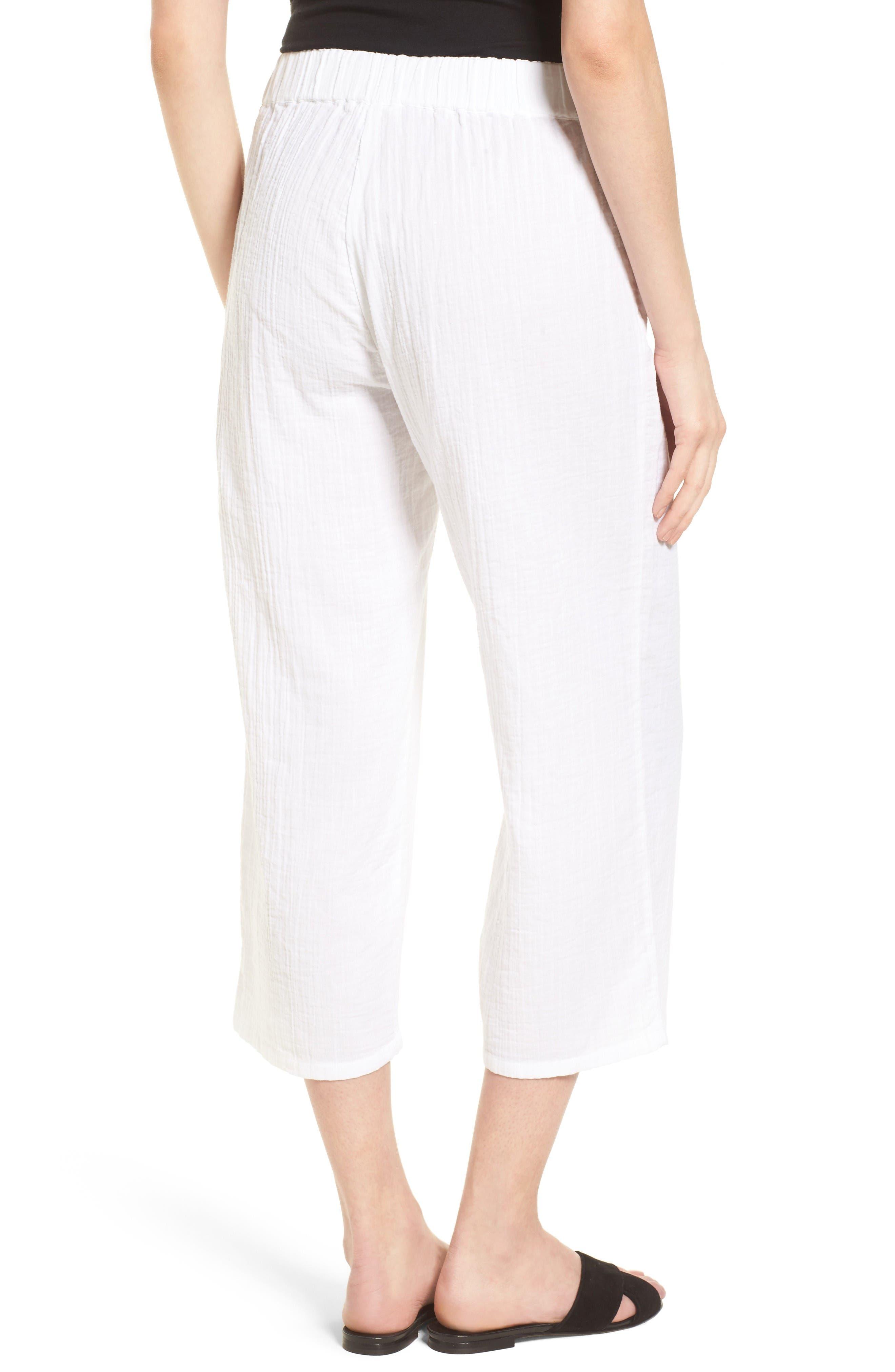 Organic Cotton Crop Pants,                             Alternate thumbnail 2, color,                             White