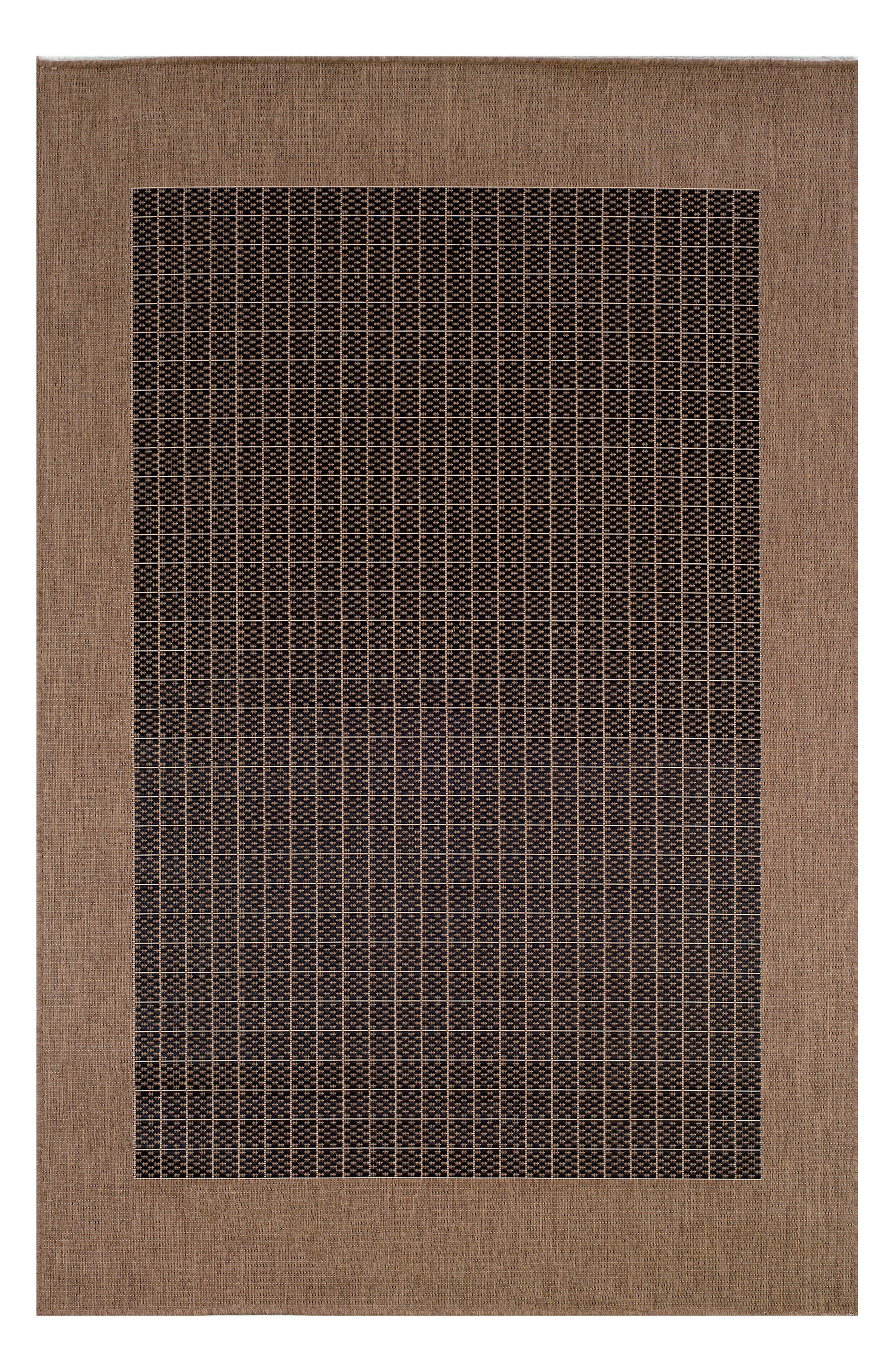 Checkered Field Indoor/Outdoor Rug,                         Main,                         color, Black/ Cocoa