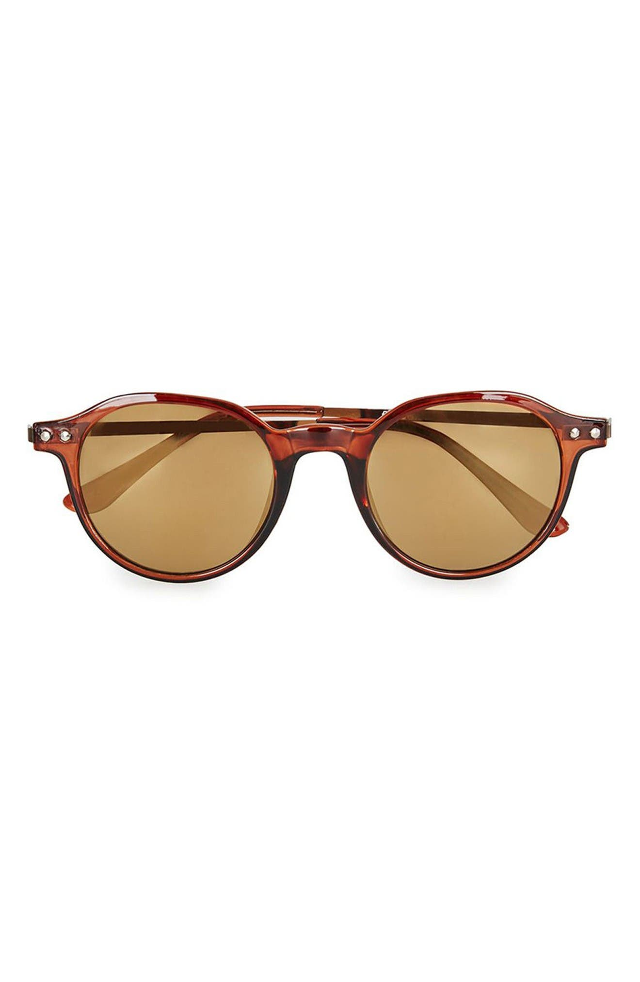 45mm Round Sunglasses,                         Main,                         color, Light Brown
