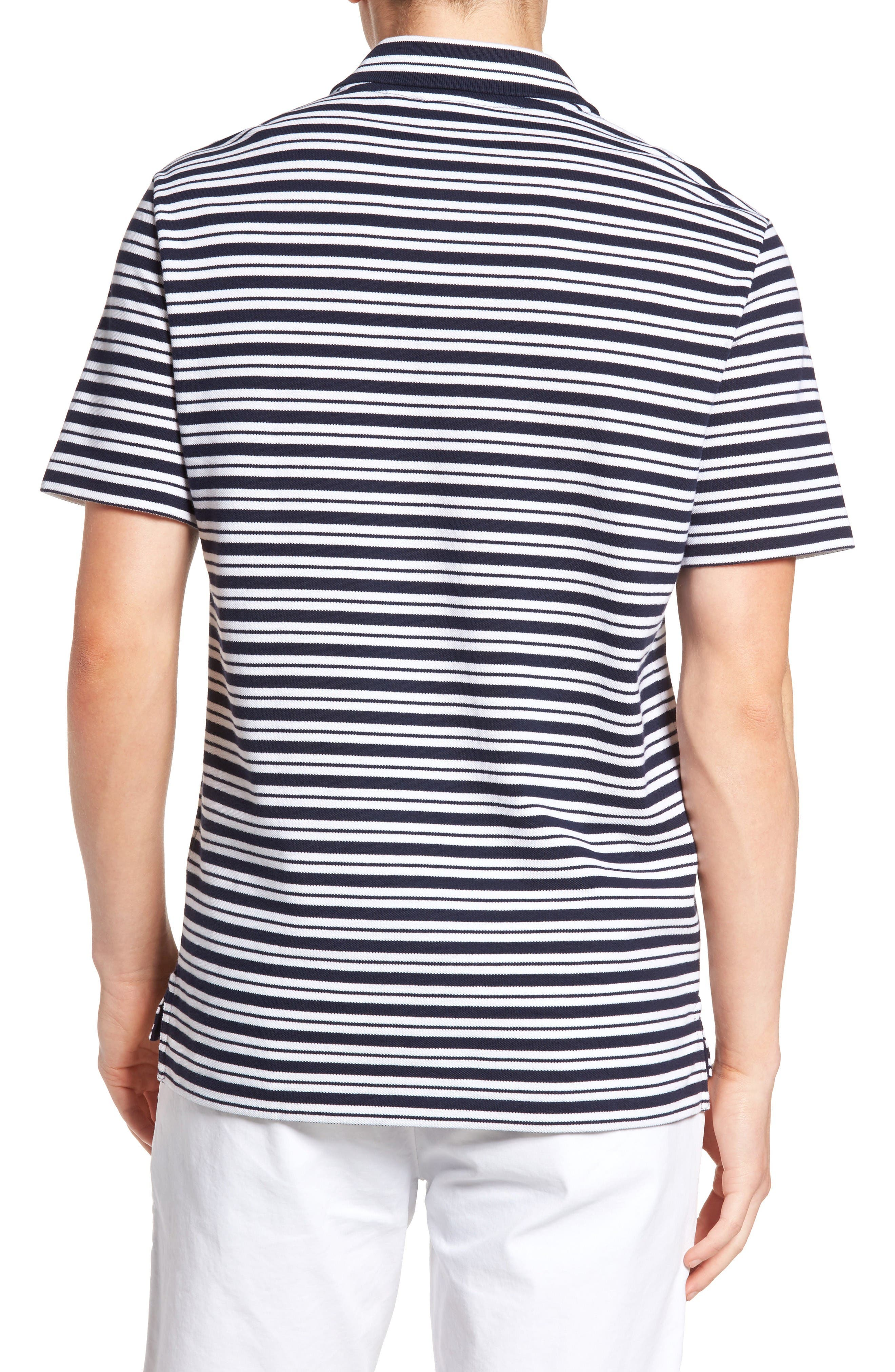 Striped Polo,                             Alternate thumbnail 2, color,                             Navy Blue/ White