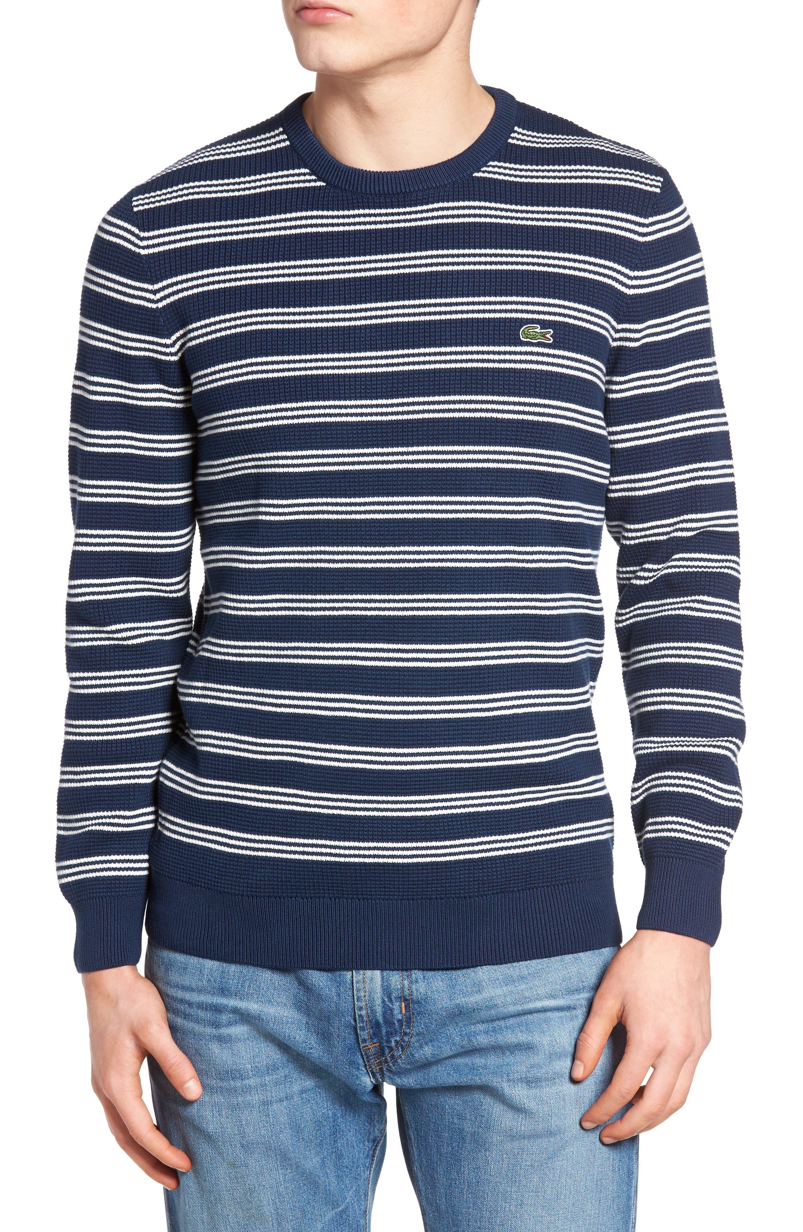 Main Image - Lacoste Waffle Stitch Stripe Sweater