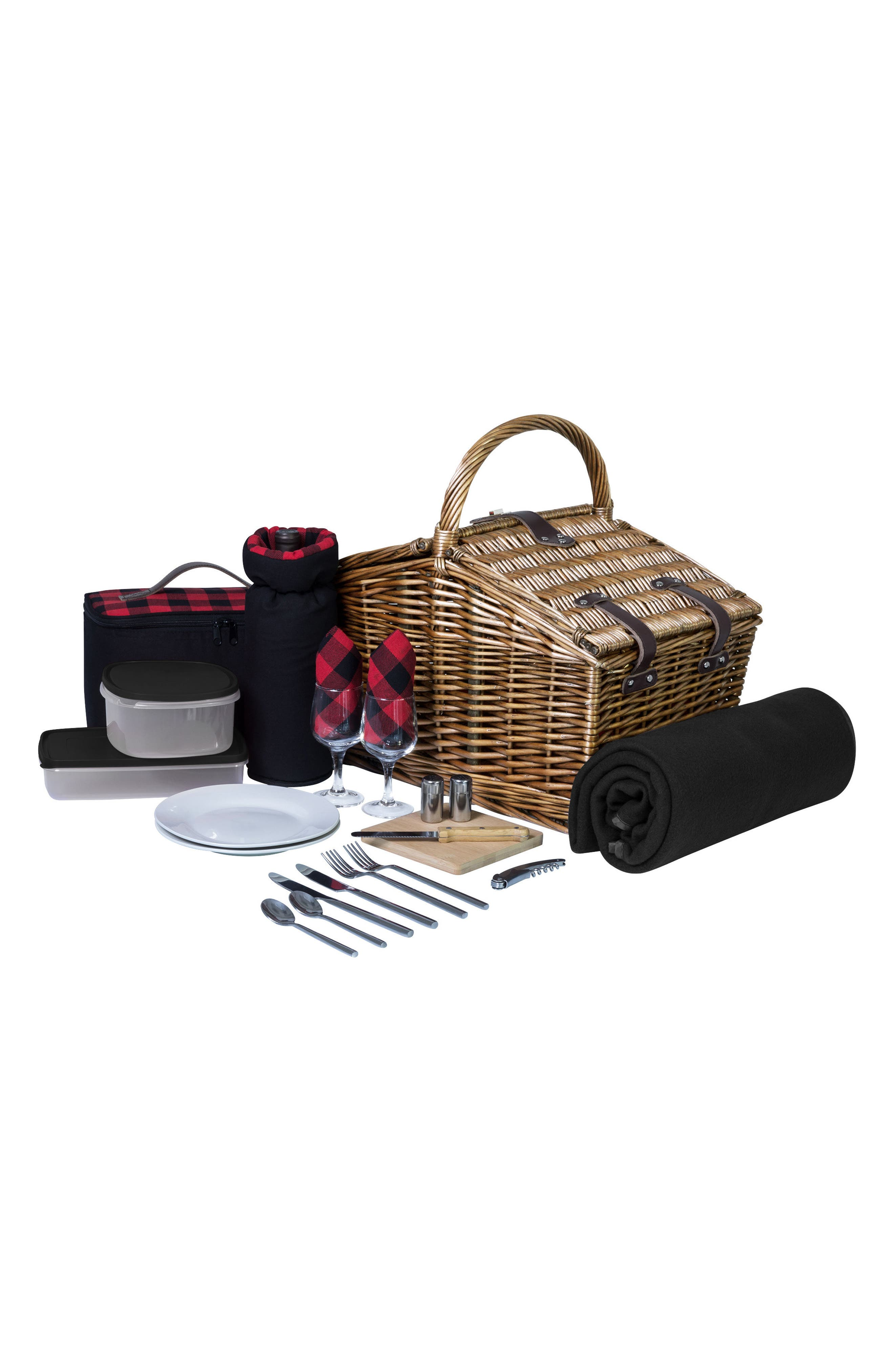 Somerset Wicker Picnic Basket,                         Main,                         color, Red