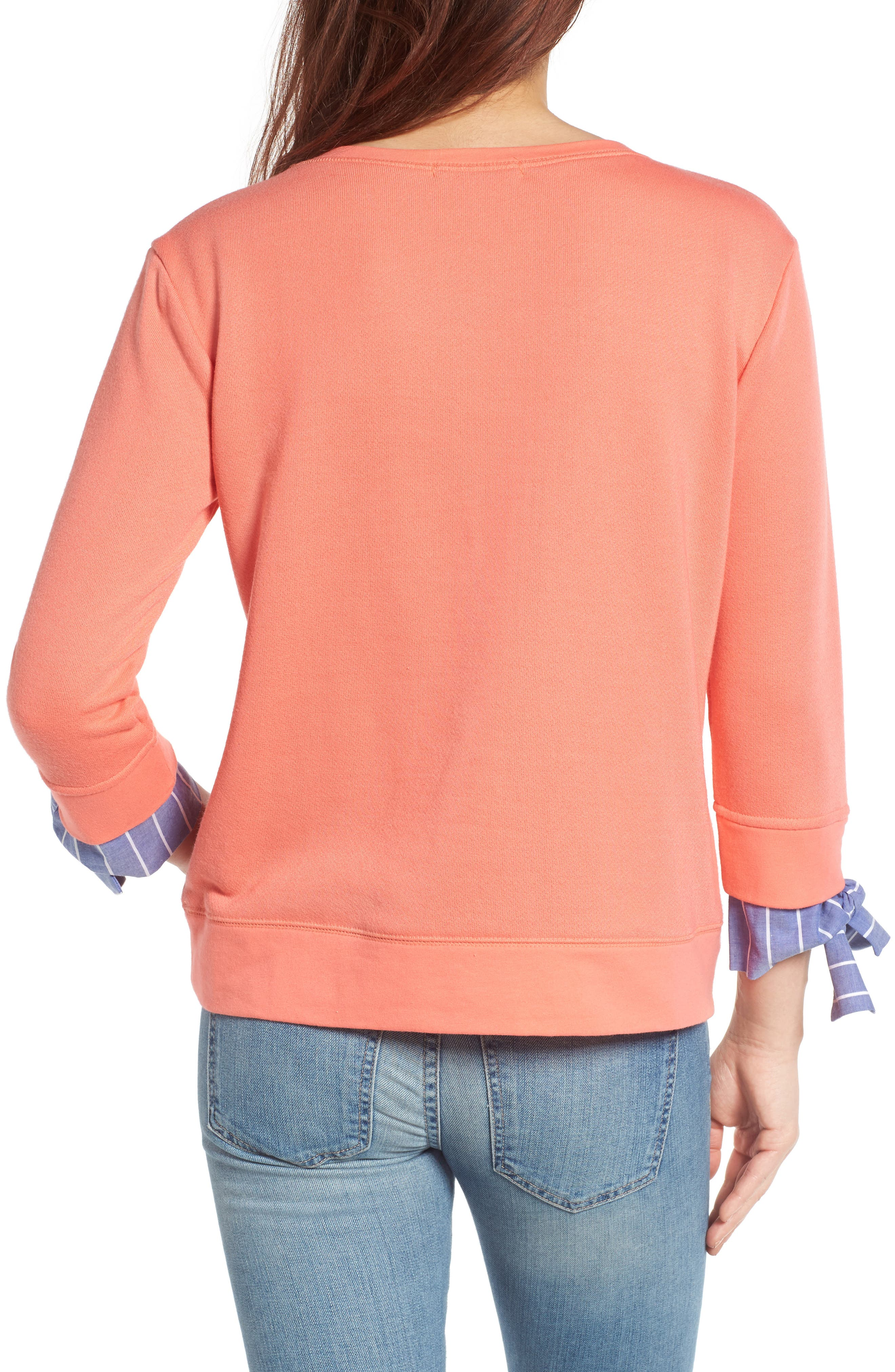 Alternate Image 2  - Gibson Tie Sleeve Sweatshirt (Regular & Petite)