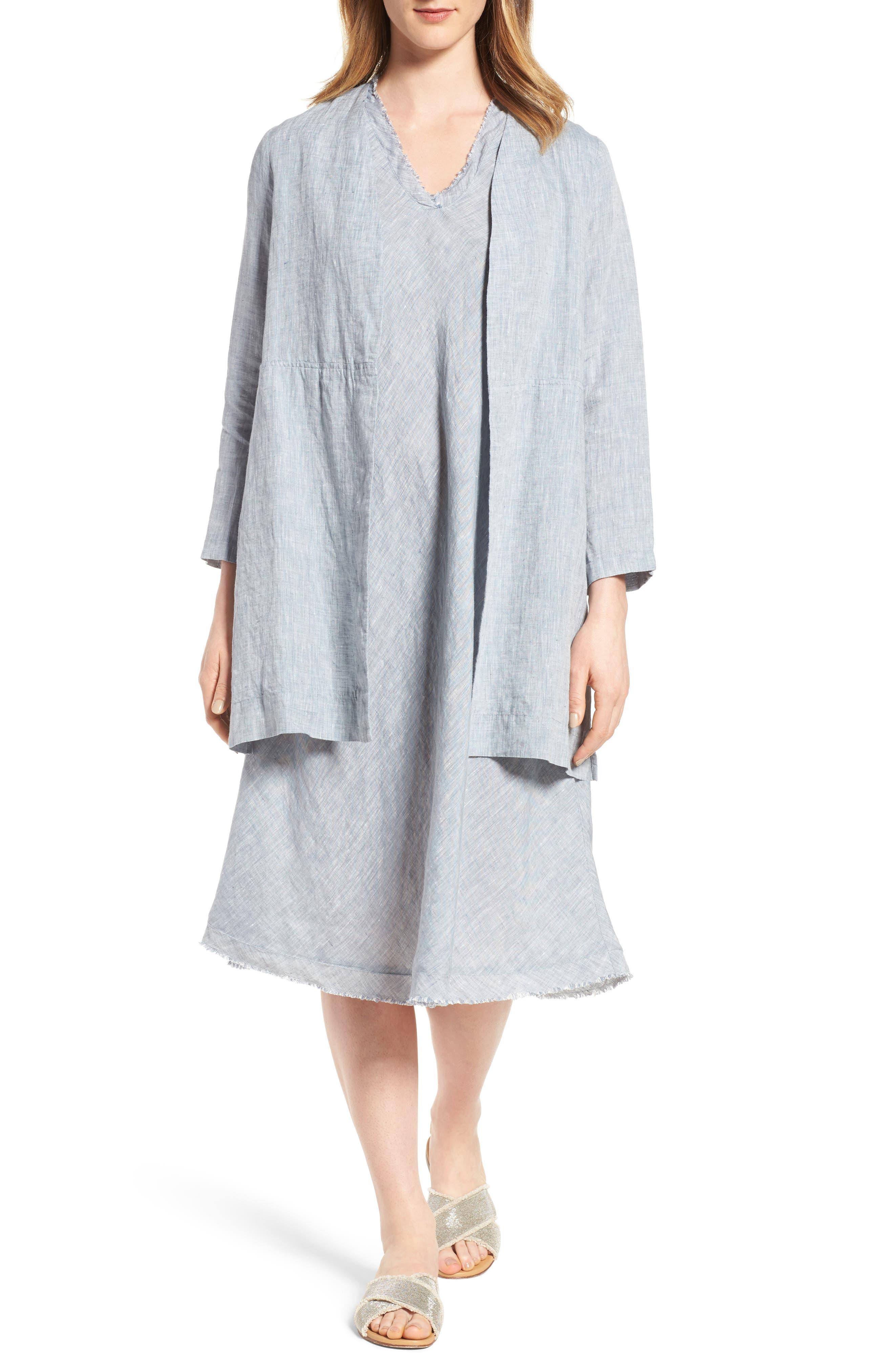 Main Image - Eileen Fisher Long Organic Linen Jacket (Regular & Petite)