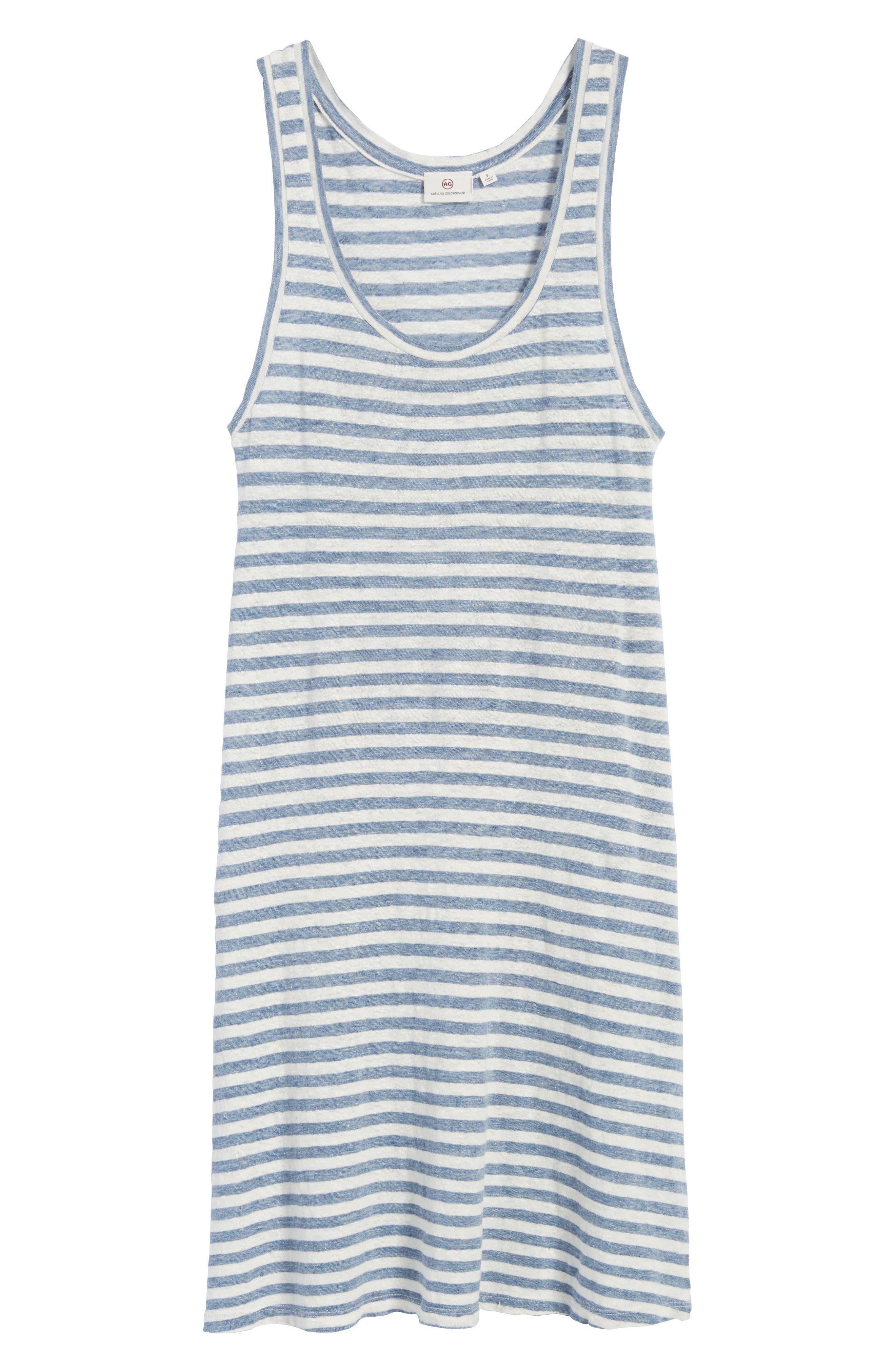 Avril Linen Tank Dress,                             Alternate thumbnail 6, color,                             Heather Blue/ Powder White