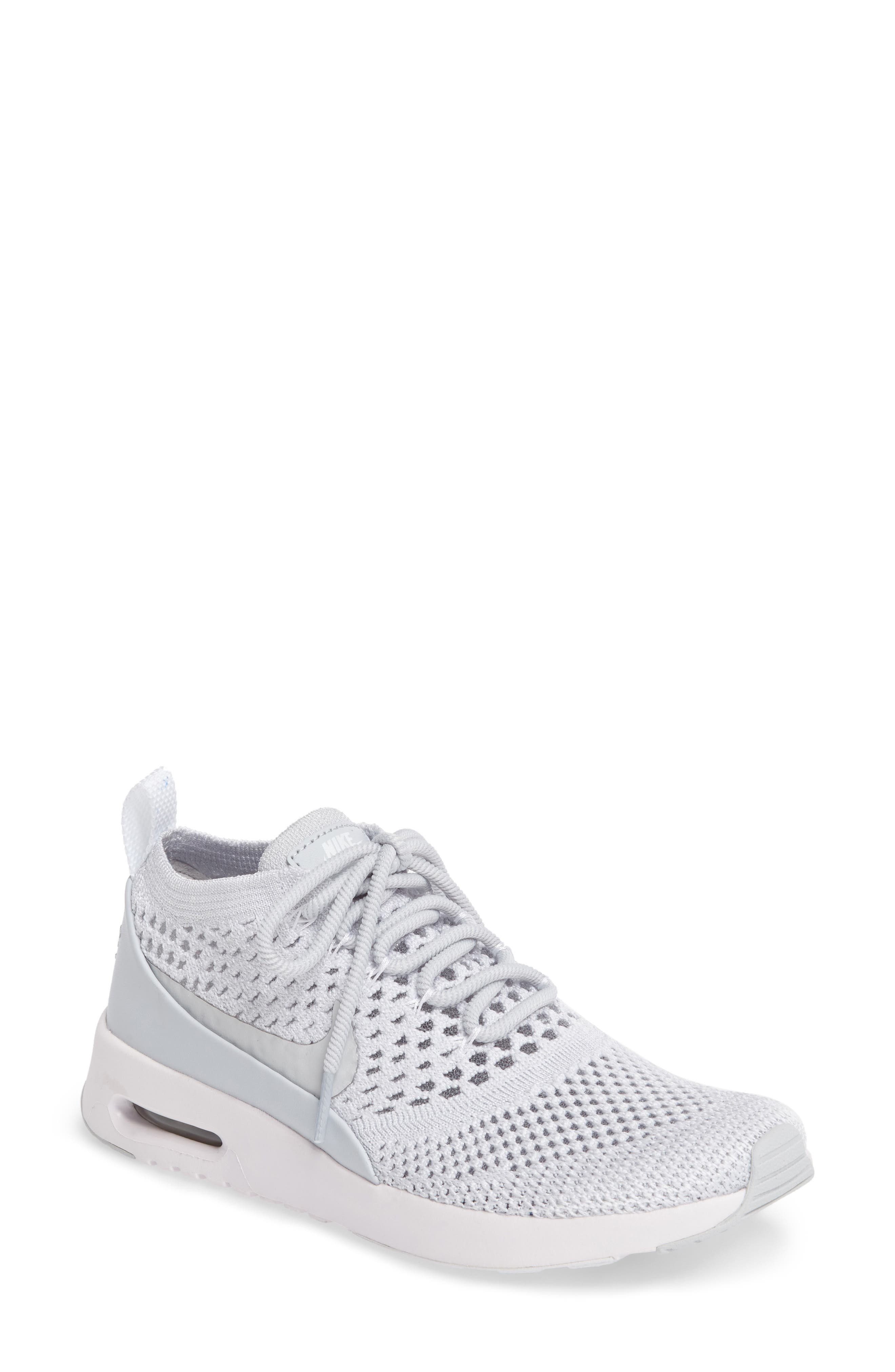 Air Max Thea Ultra Flyknit Sneaker,                         Main,                         color, Pure Platinum/ White