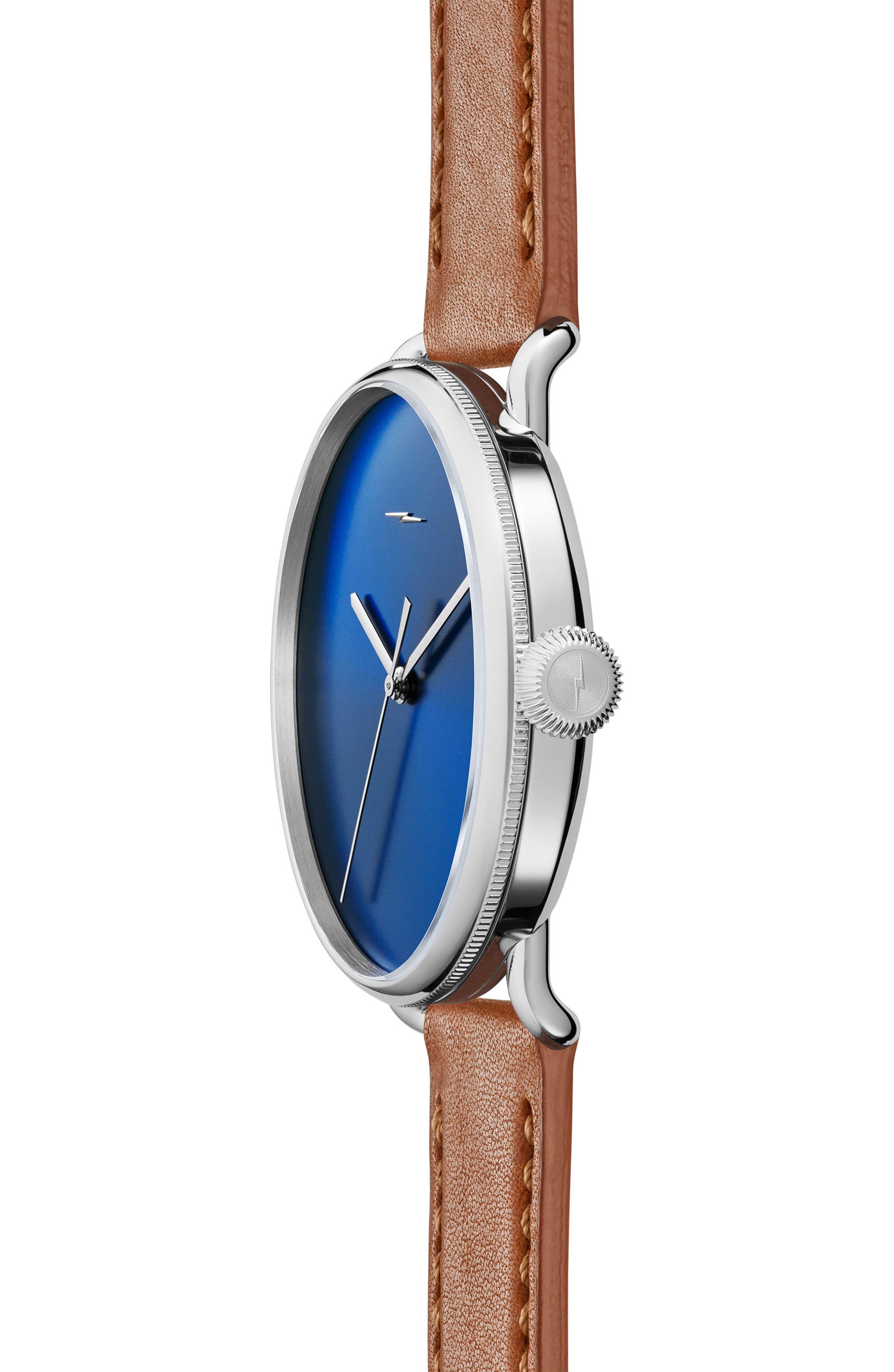 Bolt Leather Strap Watch, 42mm,                             Alternate thumbnail 3, color,                             Bourbon/ Blue Sunray/ Silver