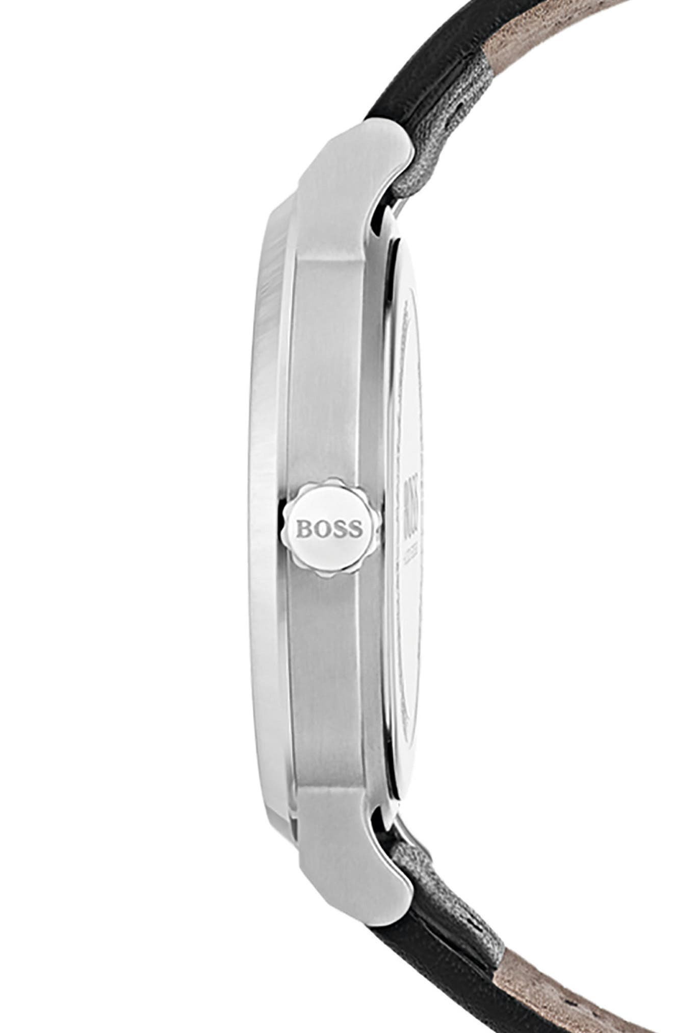 Alternate Image 3  - BOSS Essence Leather Strap Watch, 42mm