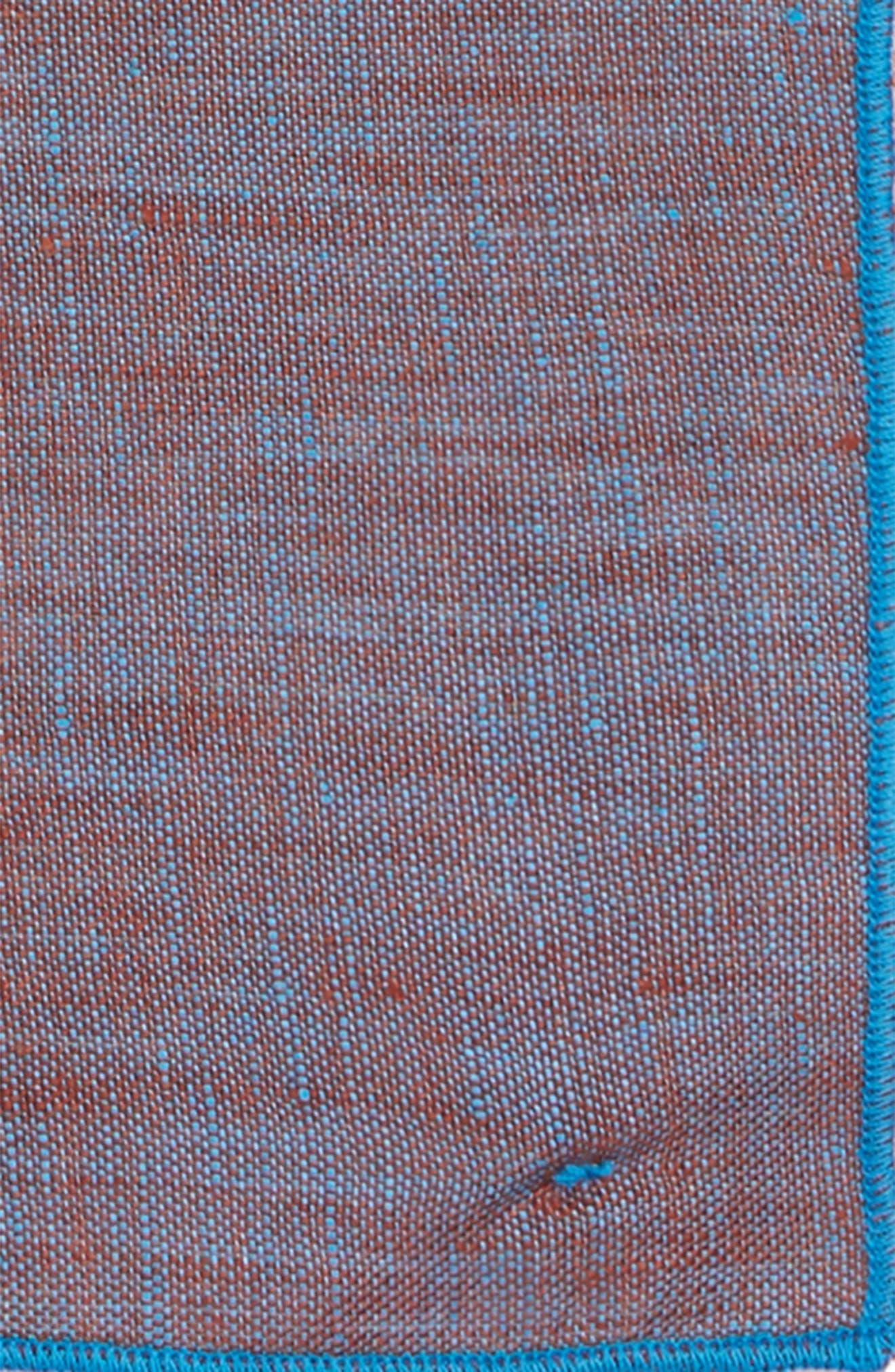 Iridescent Glass Linen Pocket Square,                             Alternate thumbnail 3, color,                             Teal