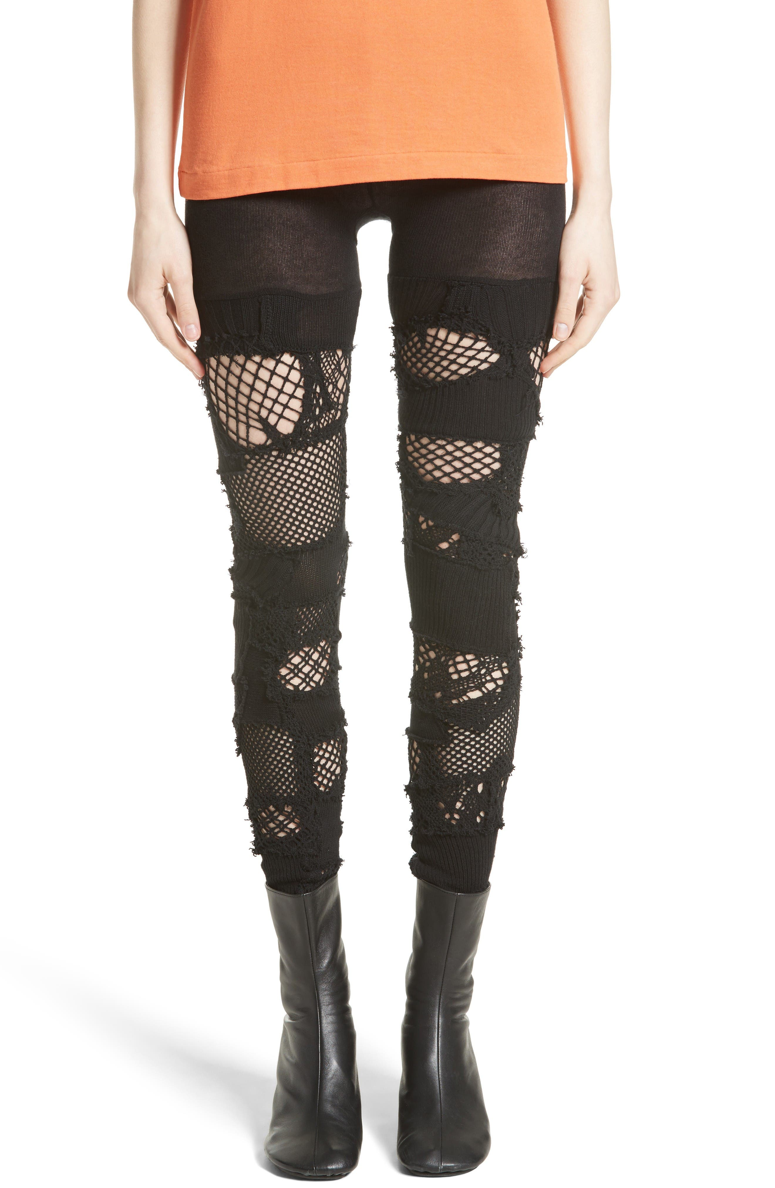 Patchwork Leggings,                         Main,                         color, Black