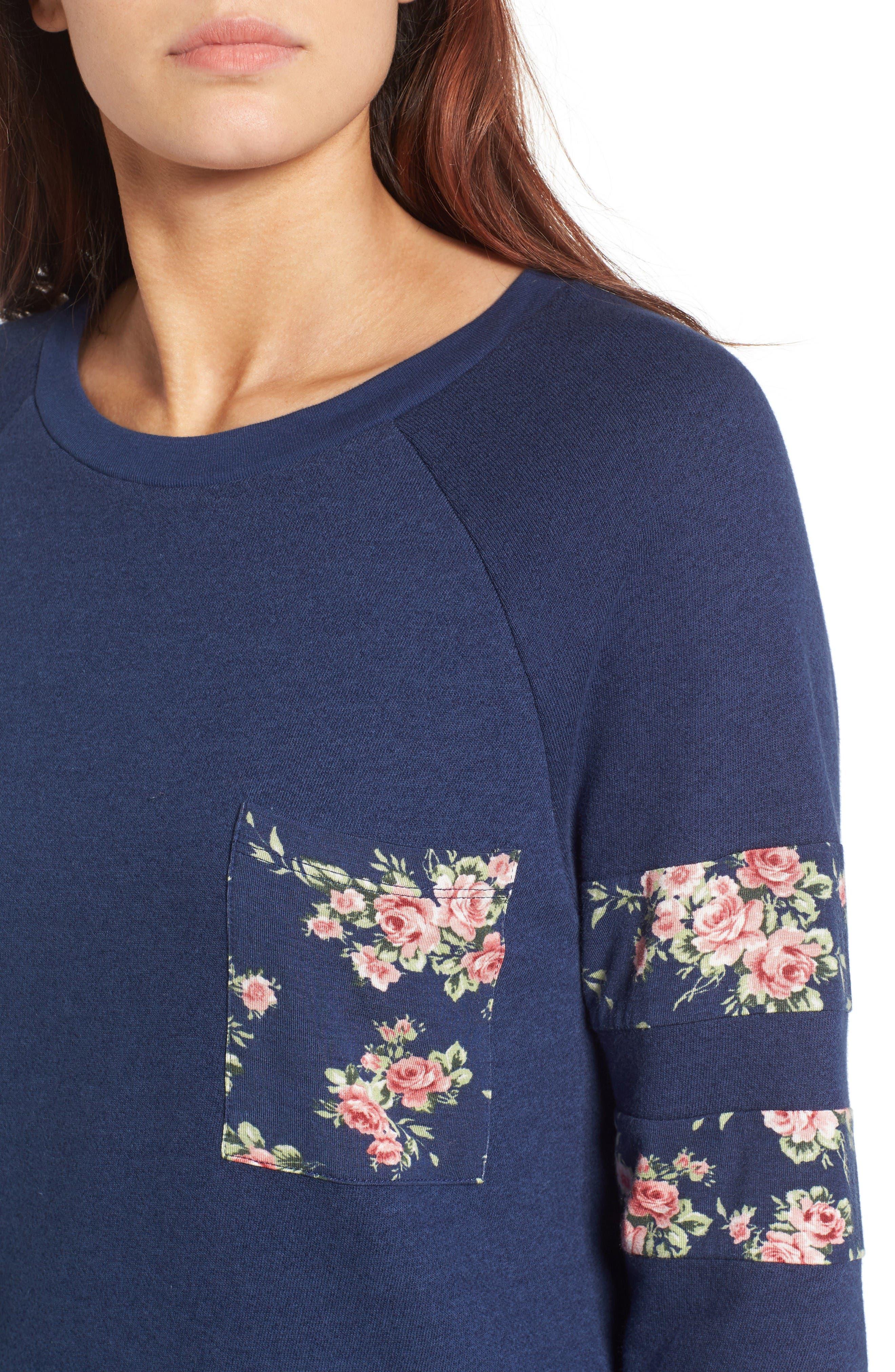 Print Detail Pocket Sweatshirt,                             Alternate thumbnail 4, color,                             Navy