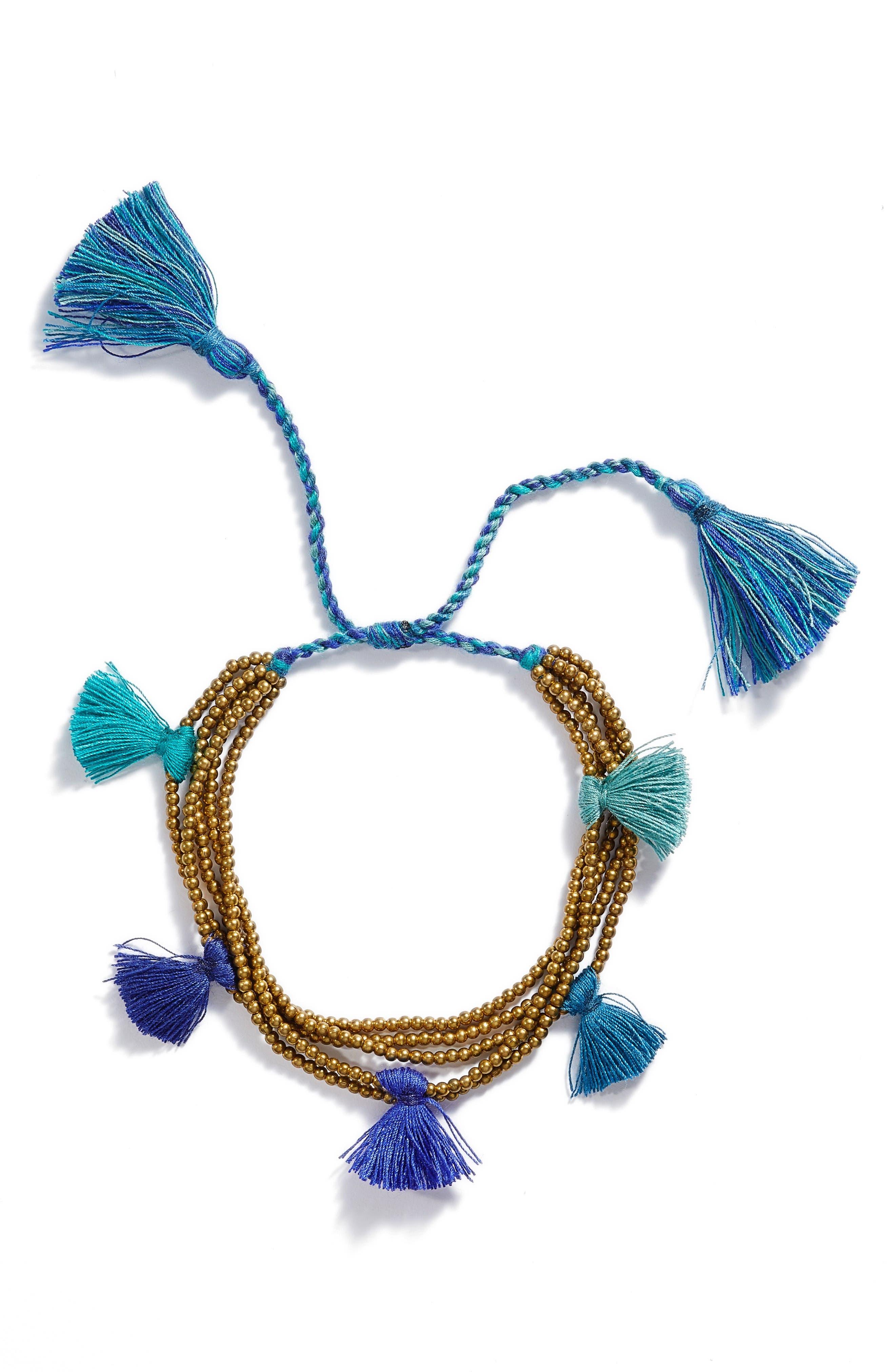 Dacing Tassel Bracelet,                             Main thumbnail 1, color,                             Blue