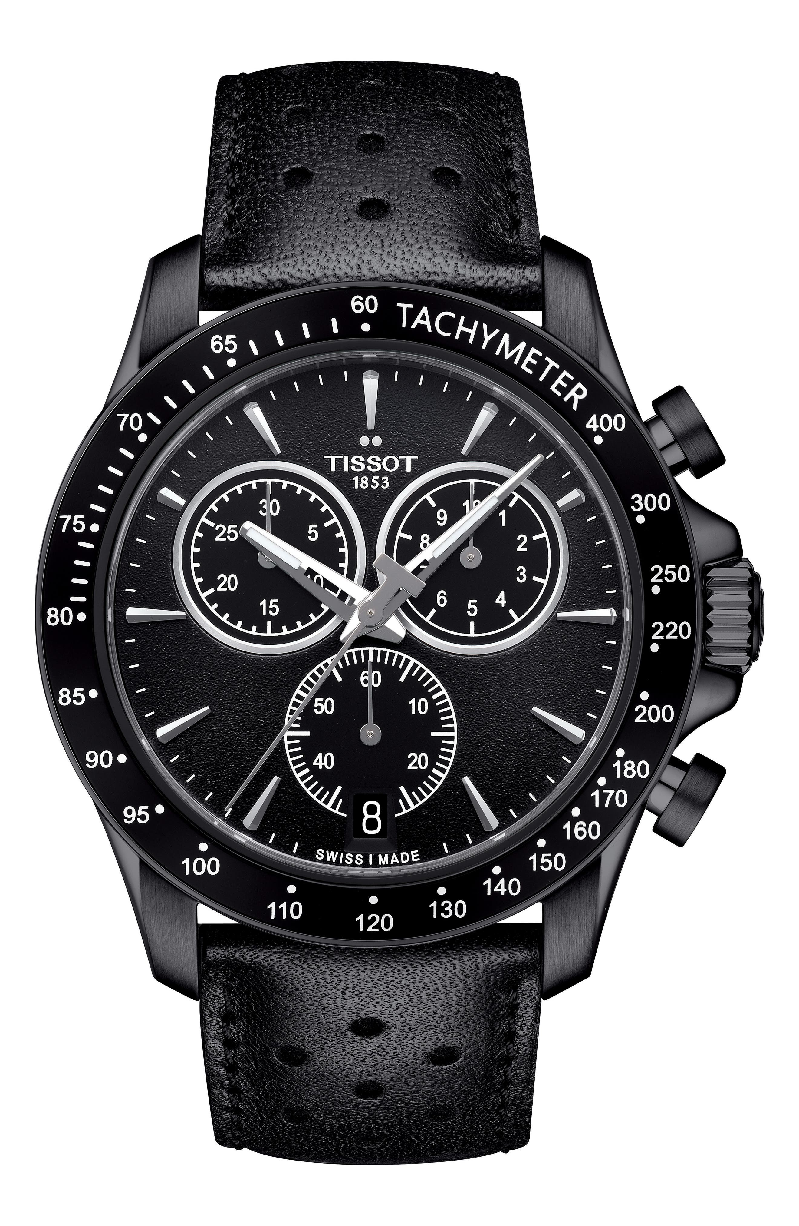 V8 Chronograph Leather Strap Watch, 43mm,                         Main,                         color, Black