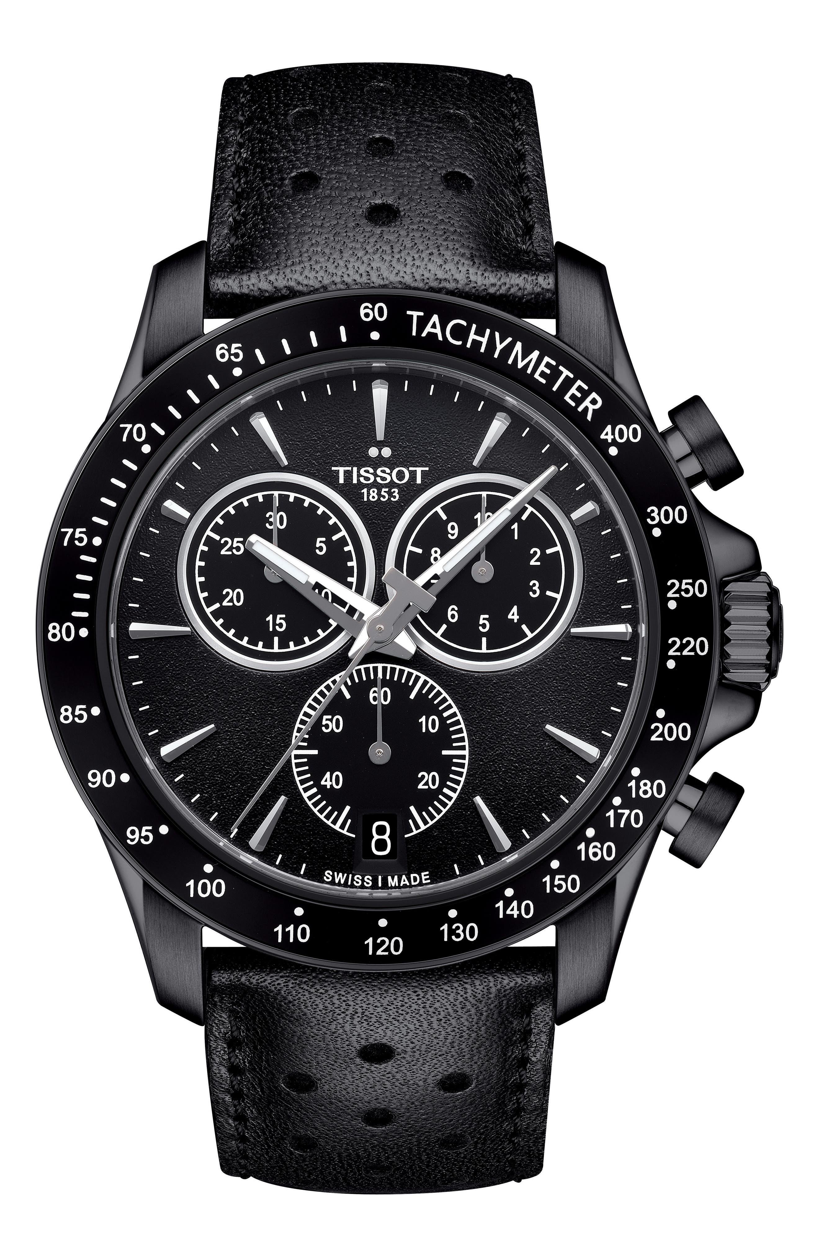 Tissot V8 Chronograph Leather Strap Watch, 43mm