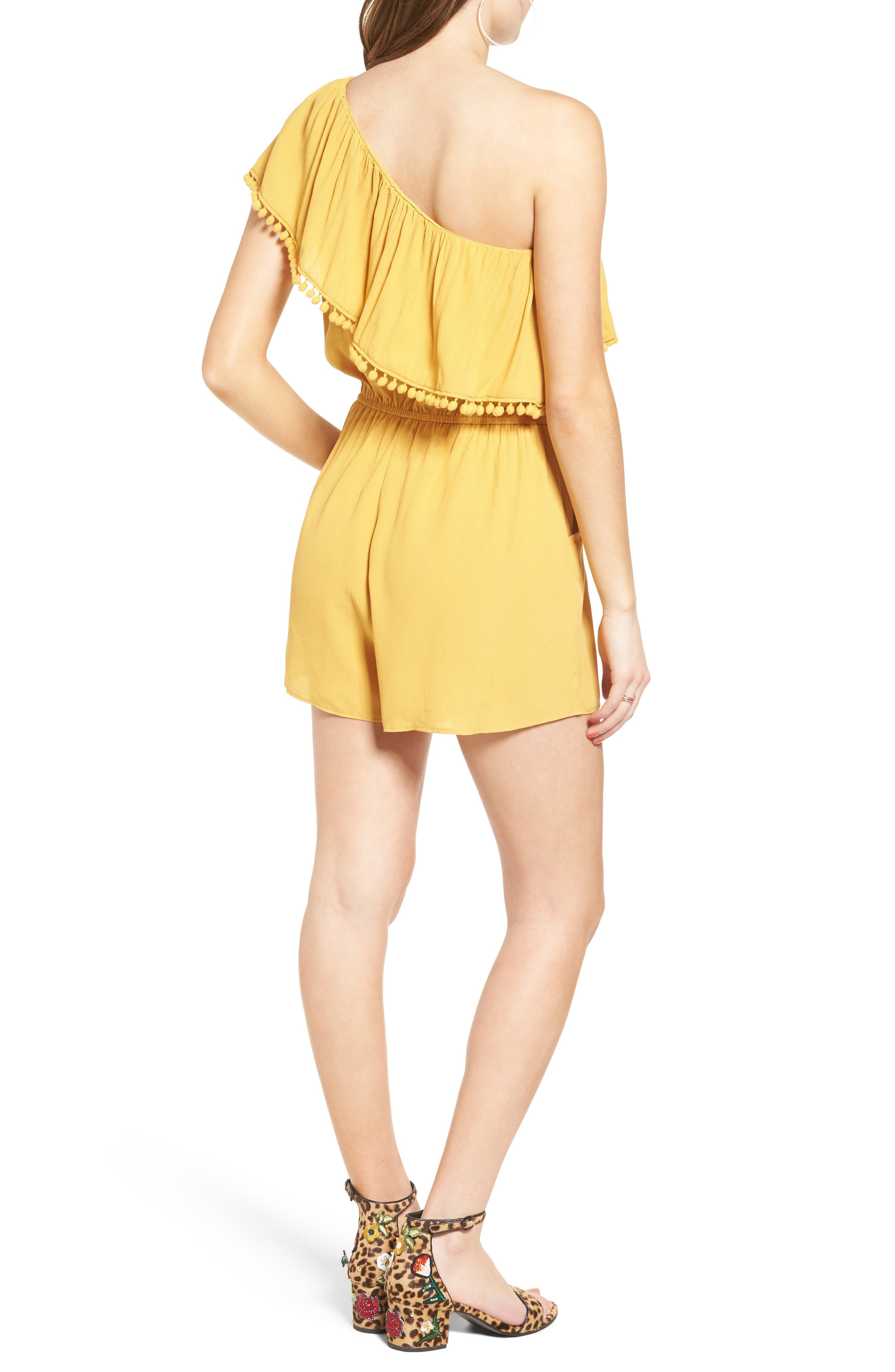 One-Shoulder Ruffle Romper,                             Alternate thumbnail 3, color,                             Yellow