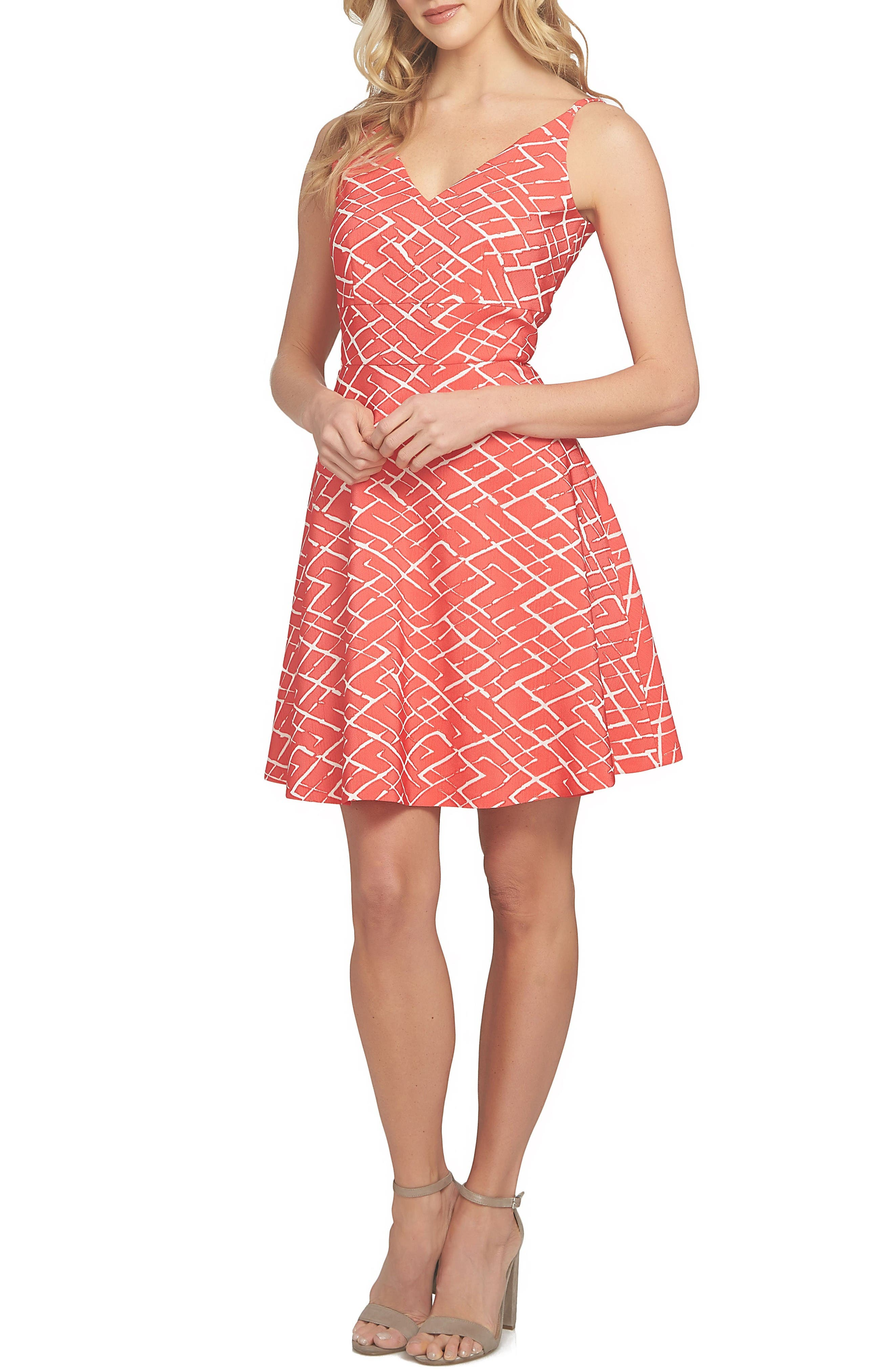 Miley Print Fit & Flare Dress,                         Main,                         color, Fiery Red