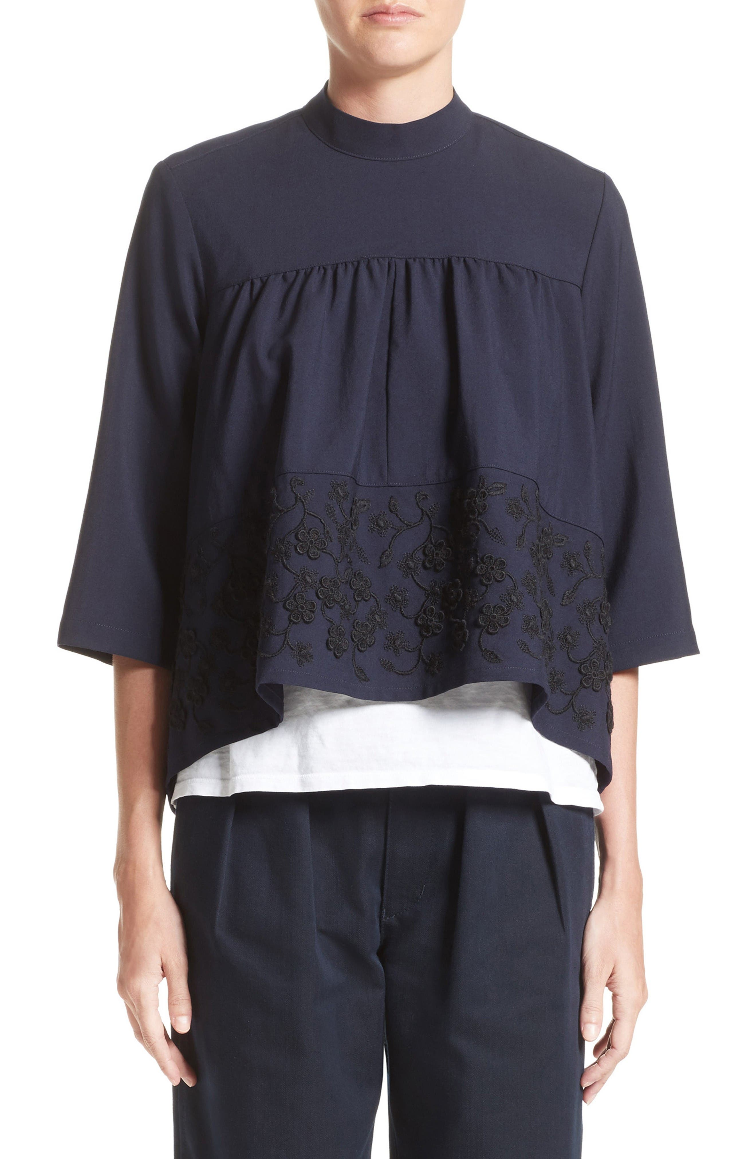 Floral Embroidered Wool Blouse,                         Main,                         color, Navy Black