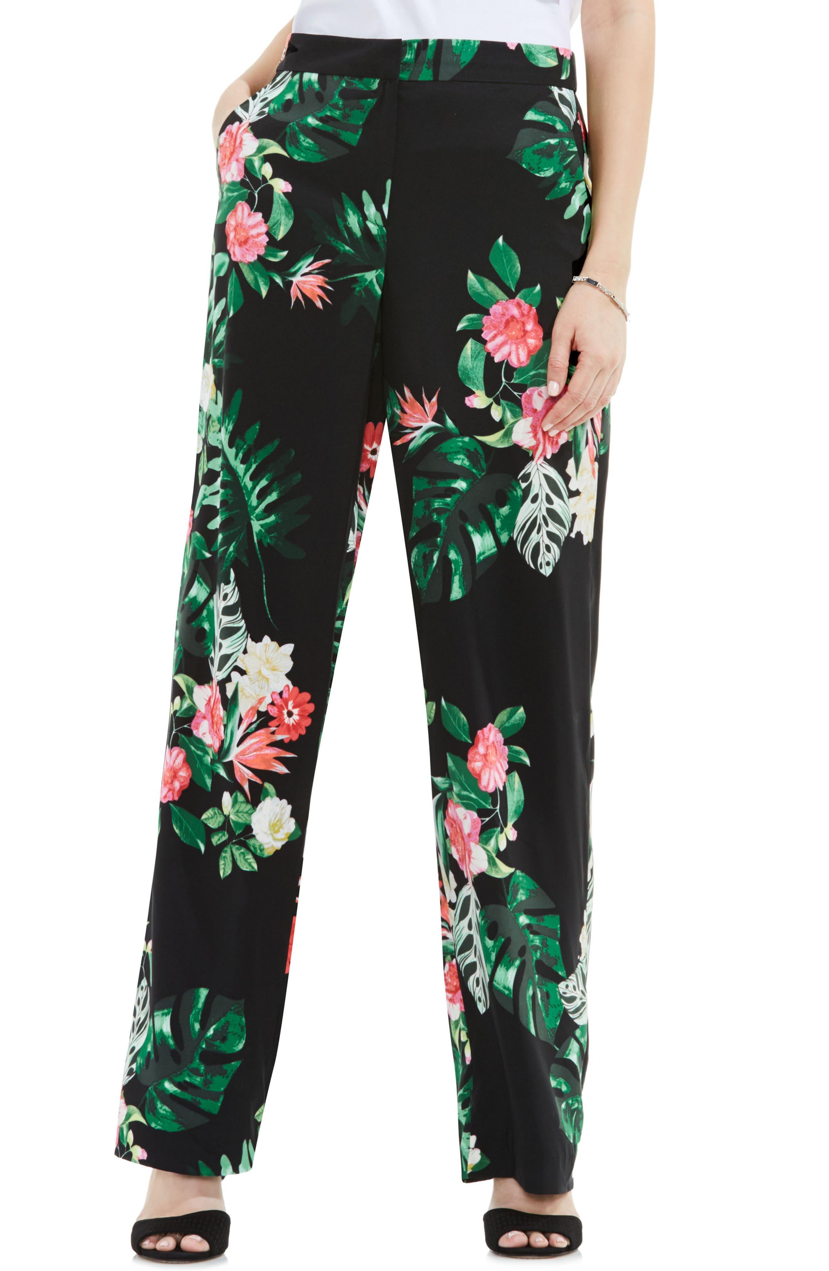 Alternate Image 1 Selected - Vince Camuto Havana Tropical Wide Leg Pants