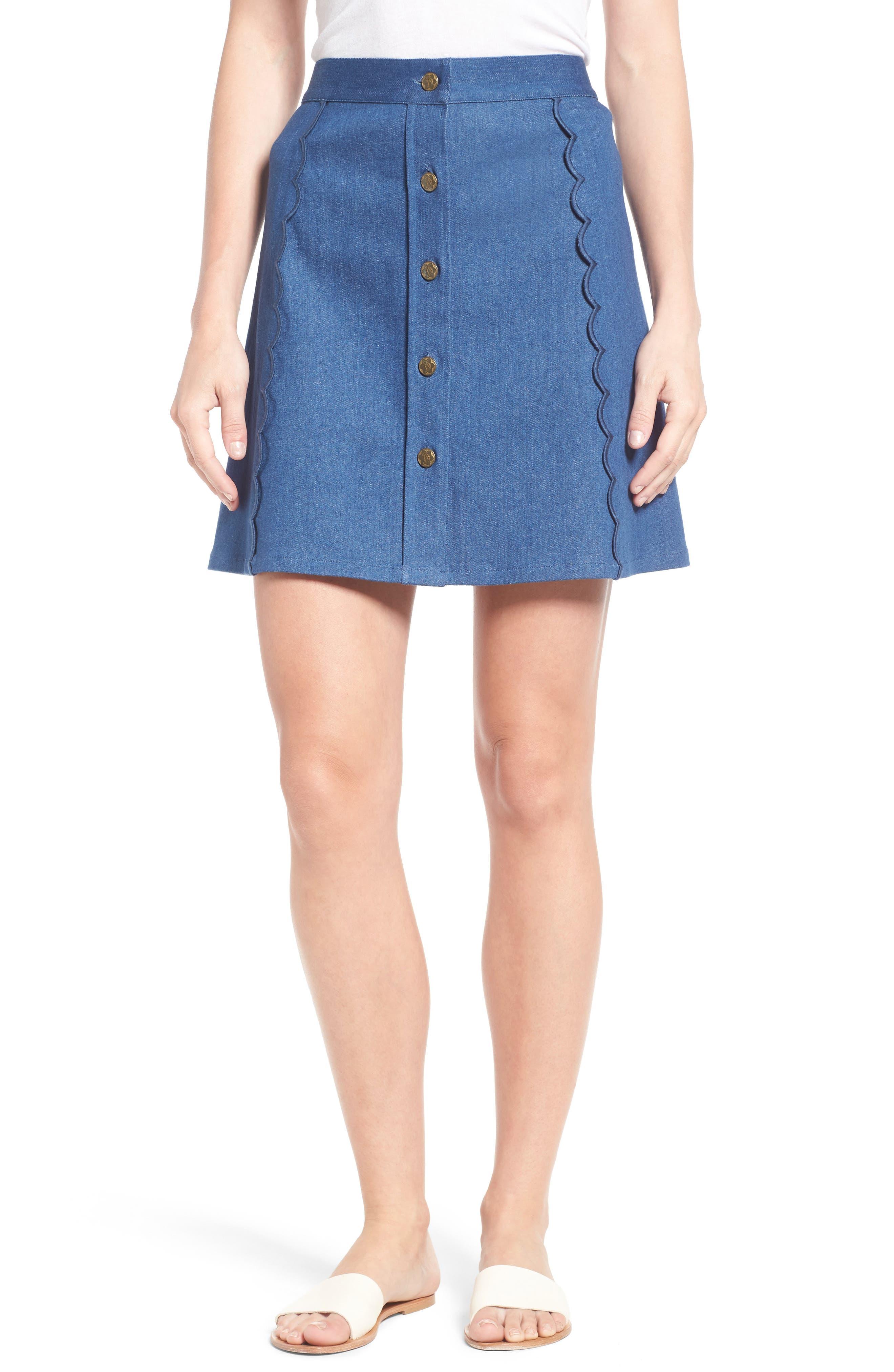 Main Image - Draper James Stretch Denim Miniskirt (Nordstrom Exclusive)