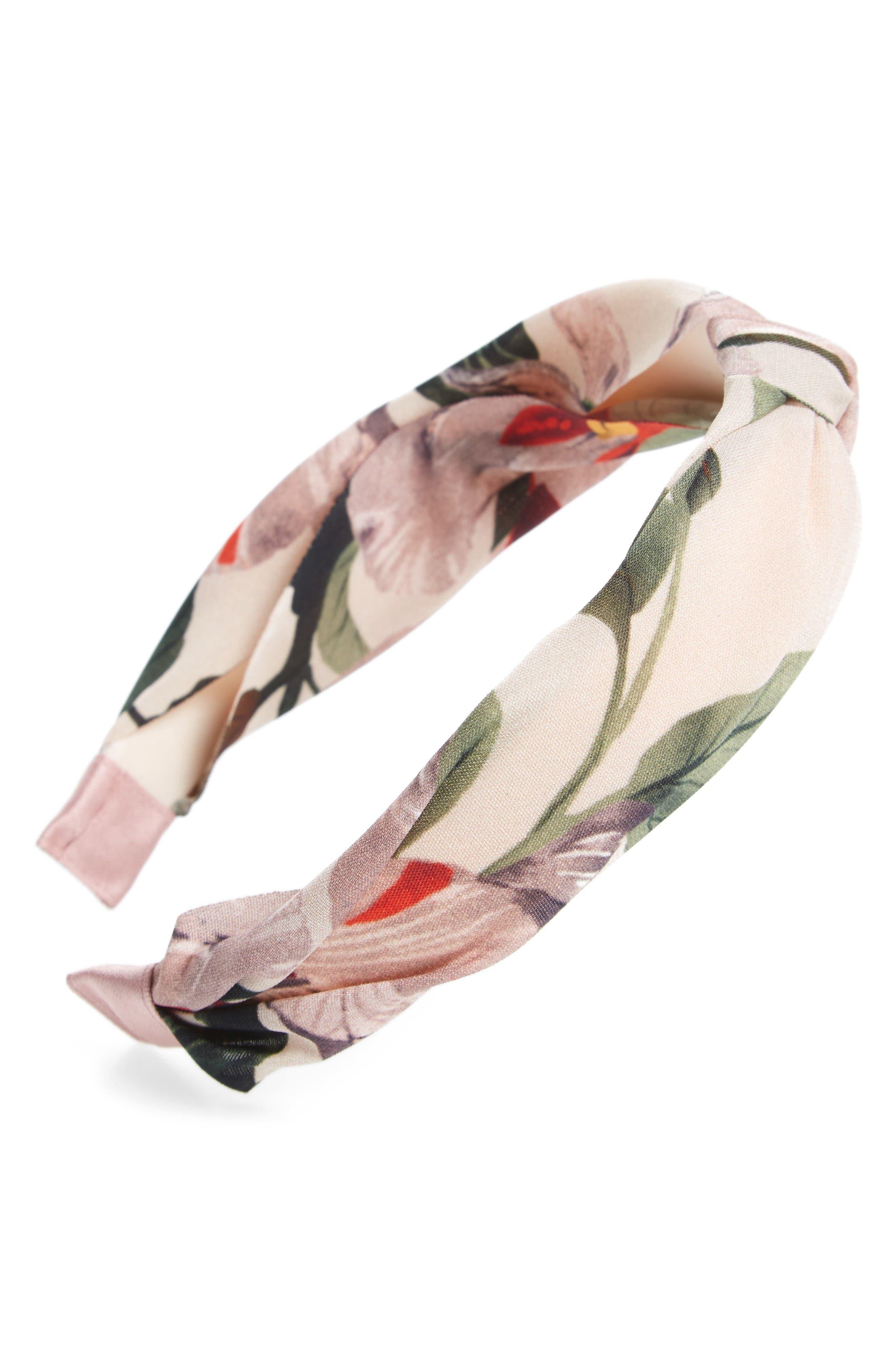 Main Image - Cara Floral Knotted Headband