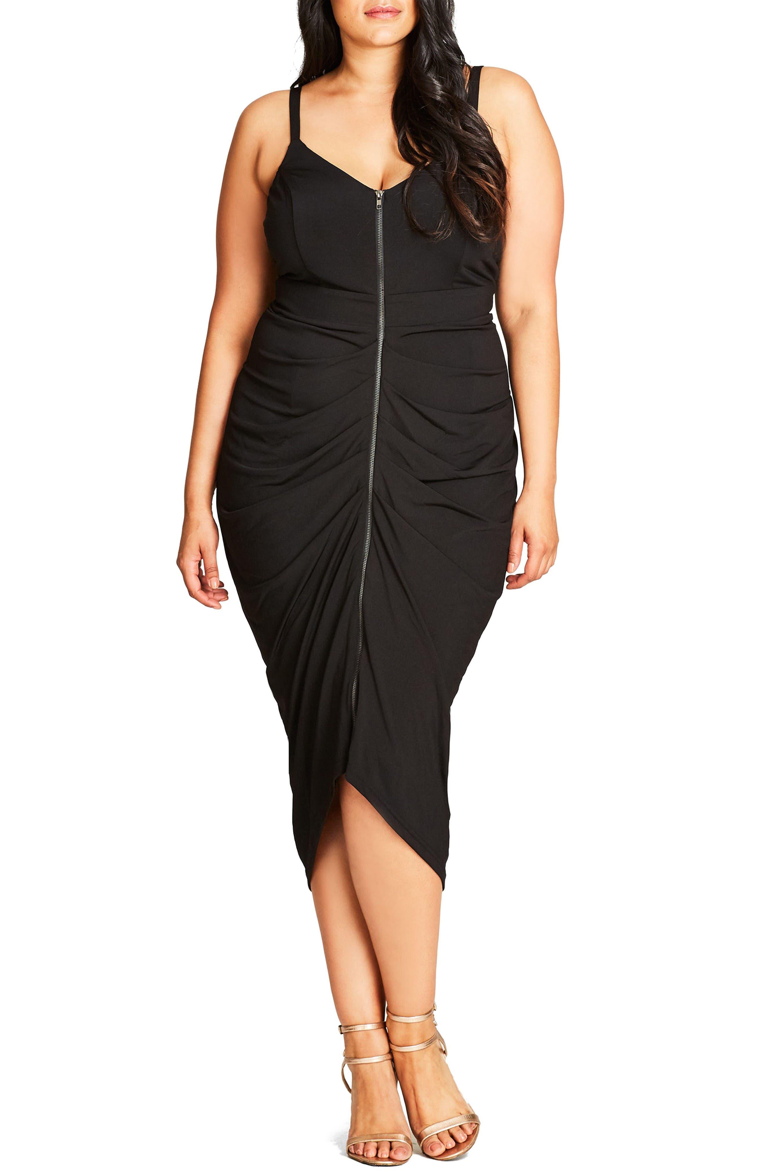 Zip Front Body-Con Dress,                         Main,                         color, Black