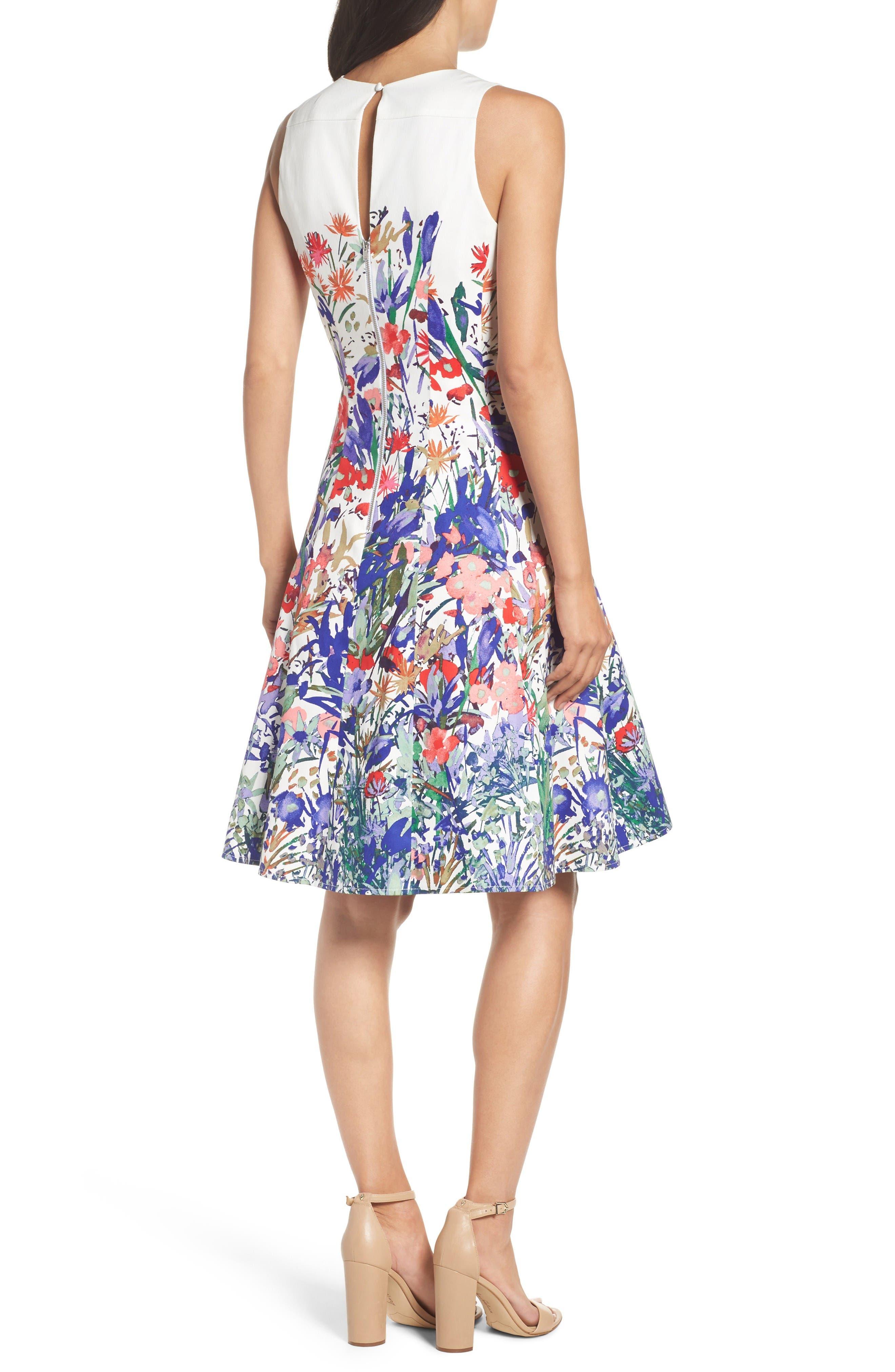 Cottage Garden Fit & Flare Dress,                             Alternate thumbnail 2, color,                             Soft White/ Coral/ Purple