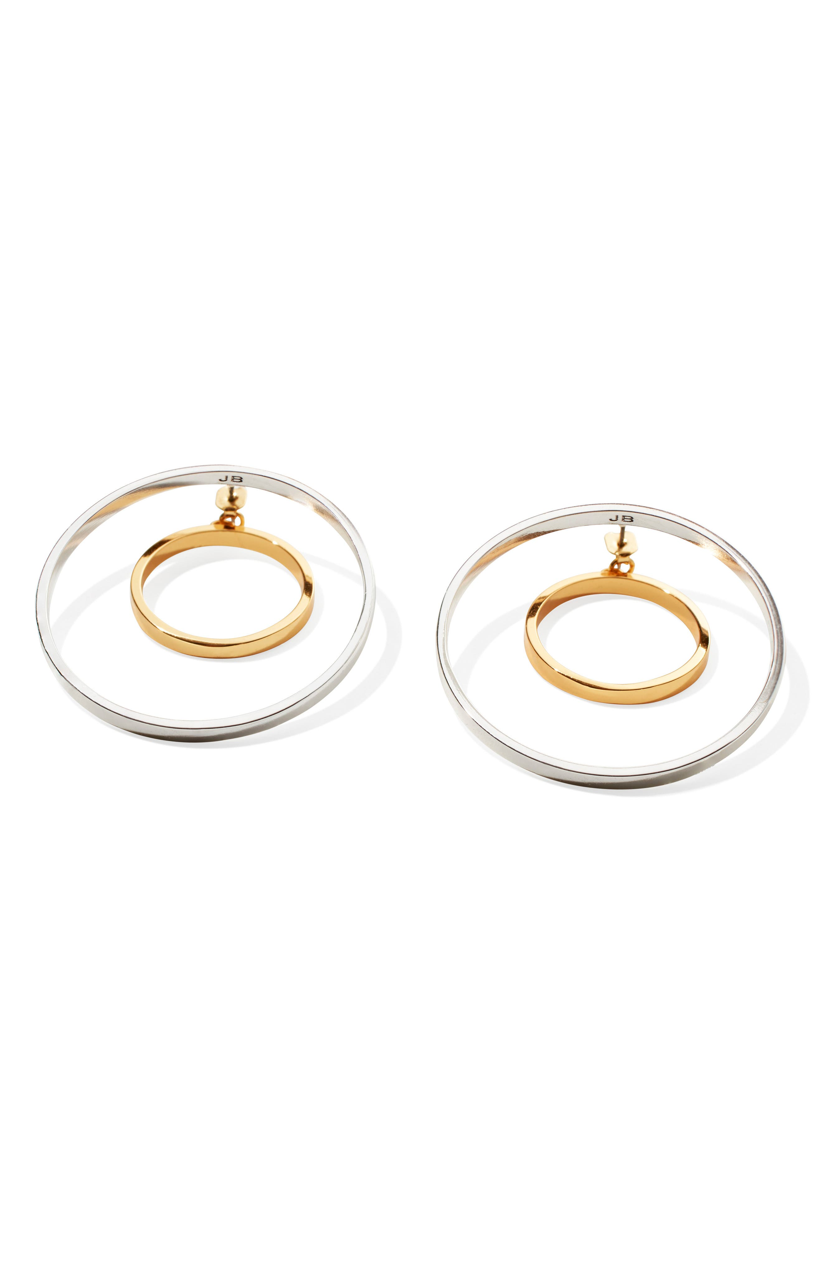 Rise Hoop Earrings,                             Alternate thumbnail 4, color,                             Two Tone