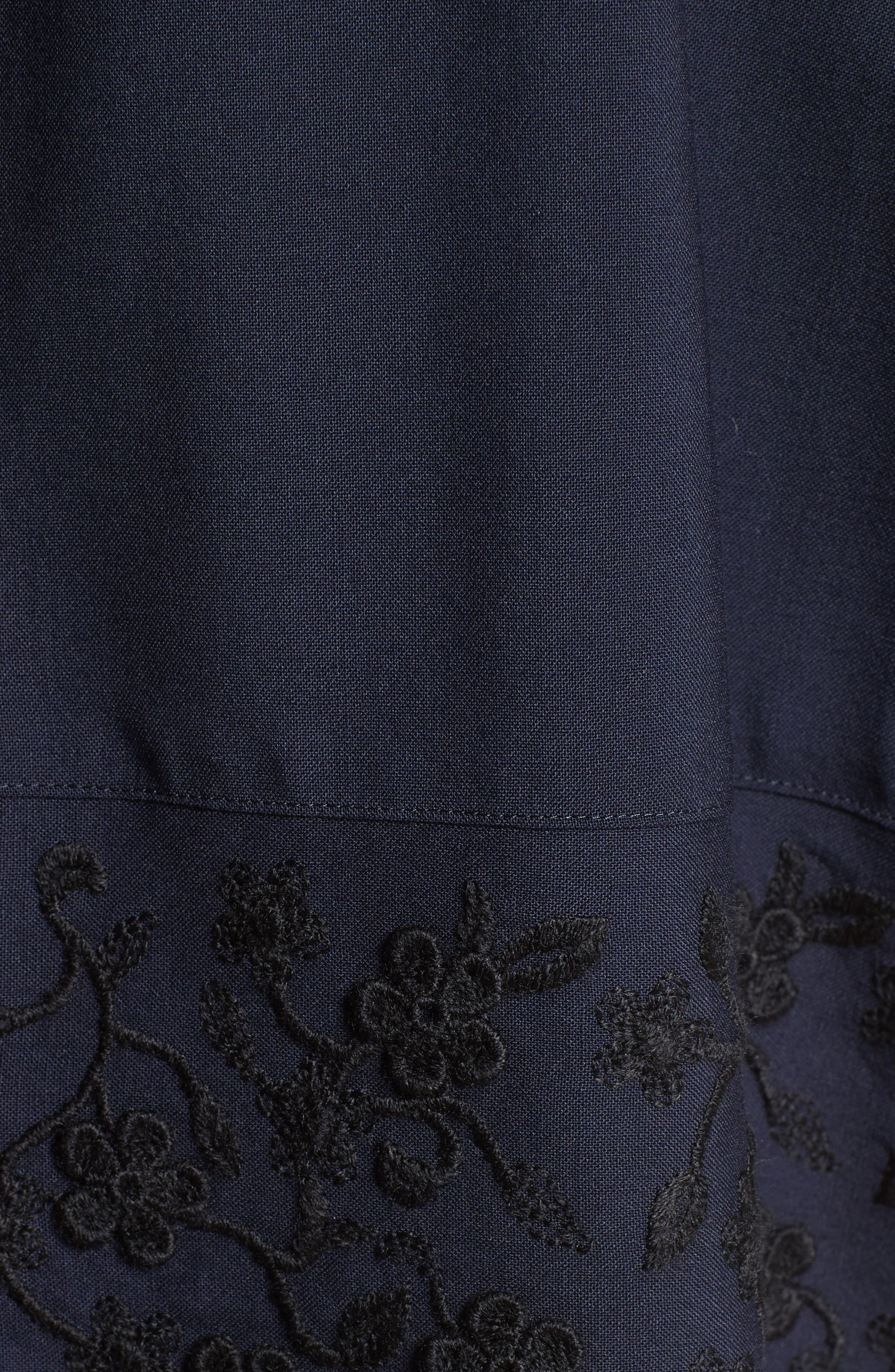 Floral Embroidered Wool Blouse,                             Alternate thumbnail 3, color,                             Navy Black