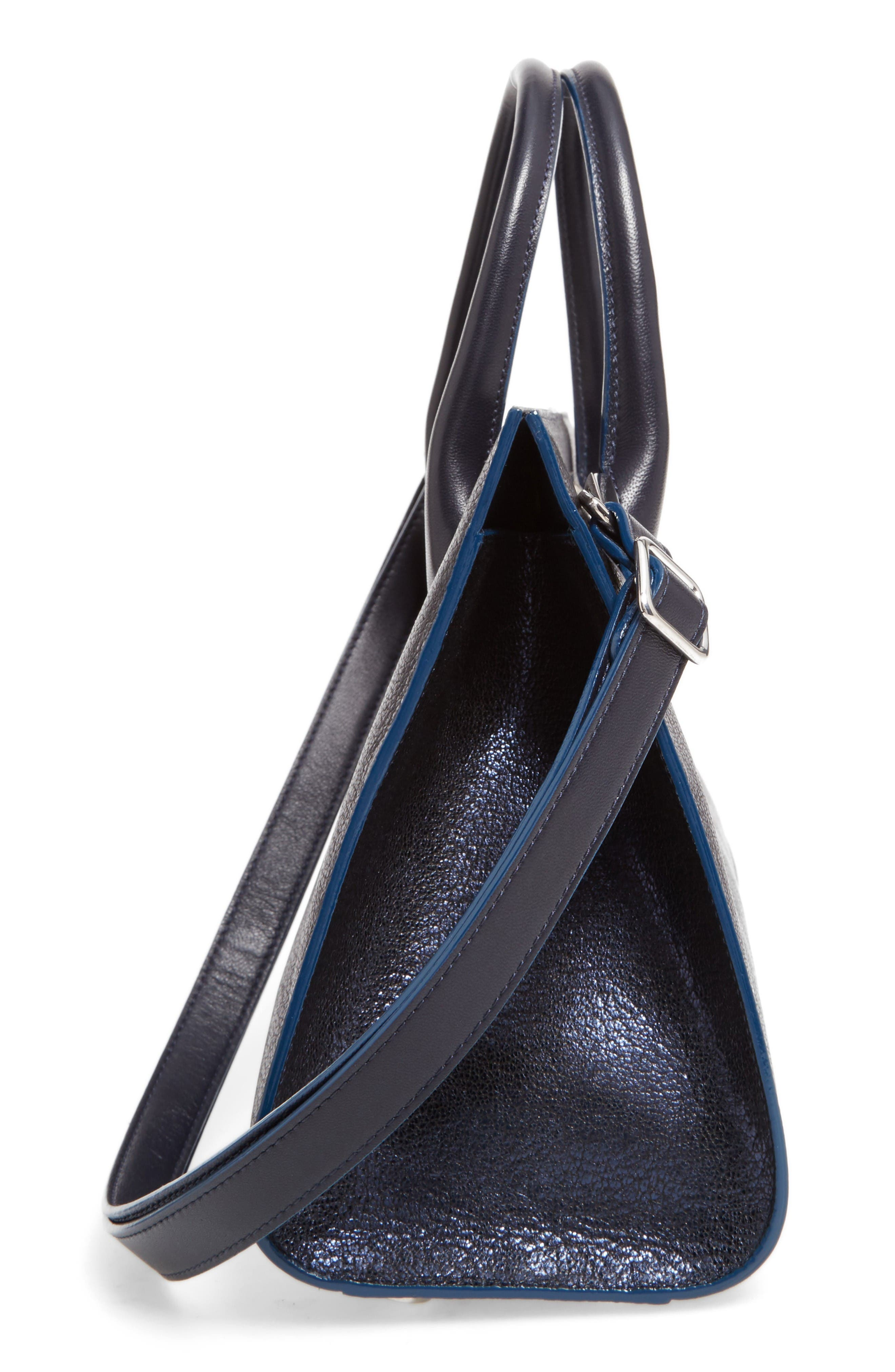 Medium Riley Metallic Leather Tote,                             Alternate thumbnail 5, color,                             Navy
