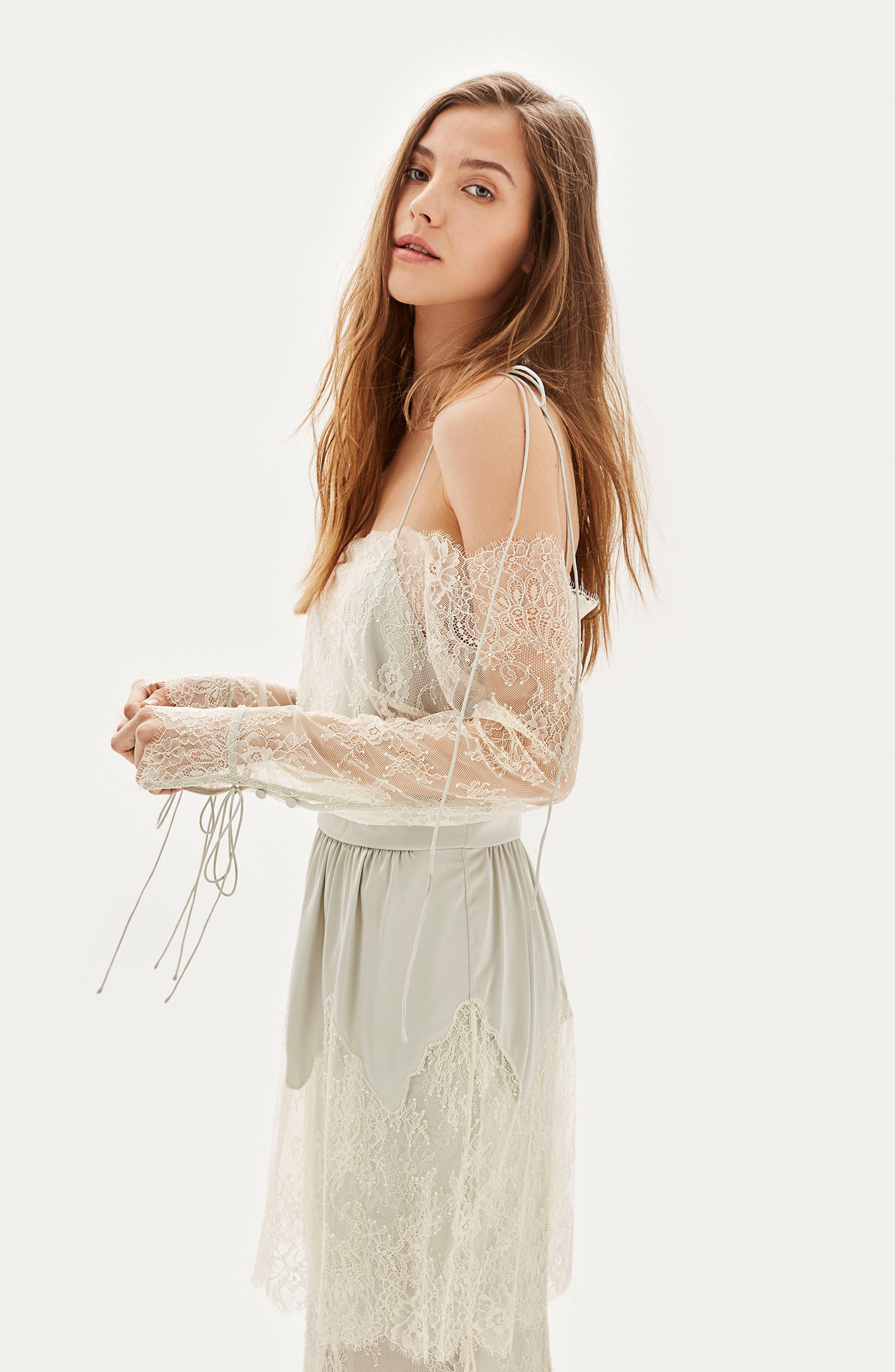 Bride Bardot Lace Off the Shoulder Gown,                             Alternate thumbnail 3, color,                             Ivory