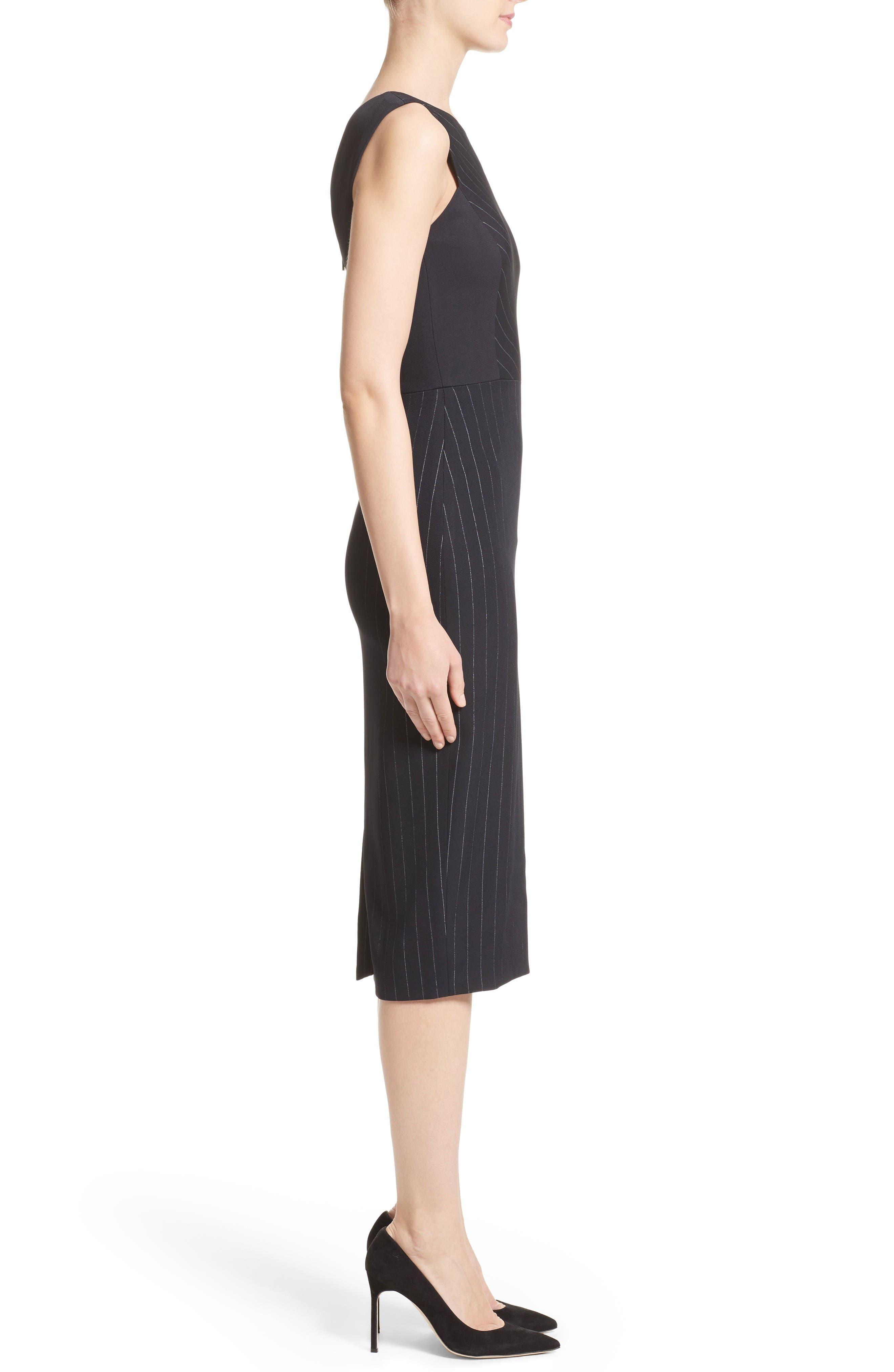Pinstripe Stretch Dress,                             Alternate thumbnail 6, color,                             Black/ Chalk